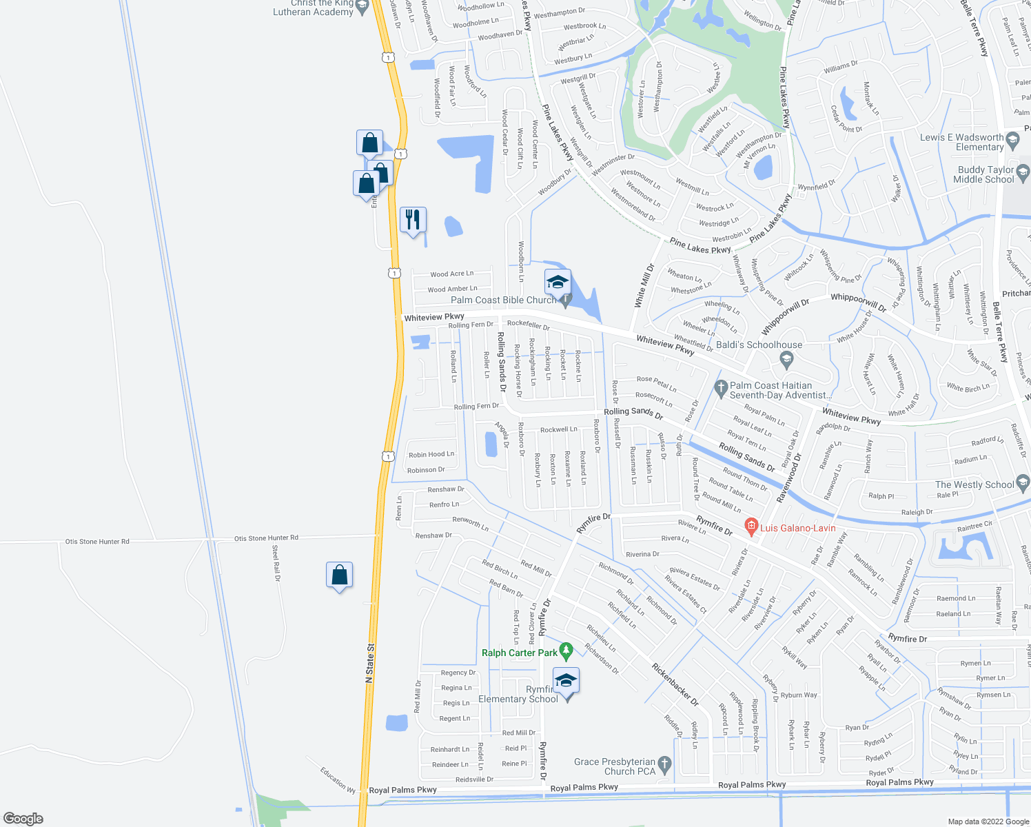 map of restaurants, bars, coffee shops, grocery stores, and more near 1 Roxboro Drive in Palm Coast