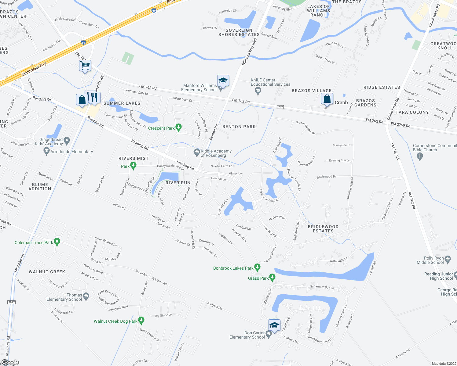 map of restaurants, bars, coffee shops, grocery stores, and more near 8906 Henrico Lane in Rosenberg