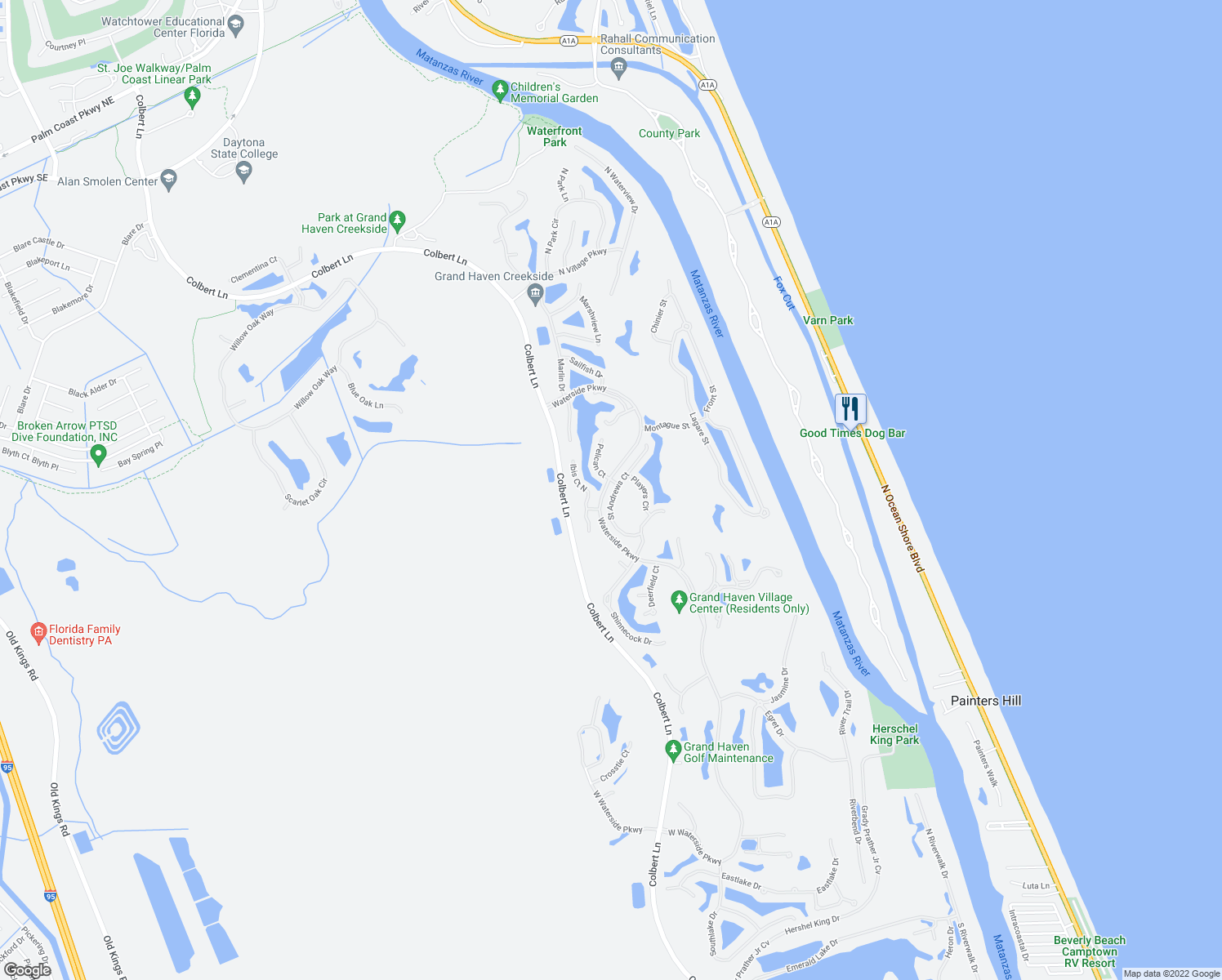 map of restaurants, bars, coffee shops, grocery stores, and more near 24 Saint Andrews Court in Palm Coast
