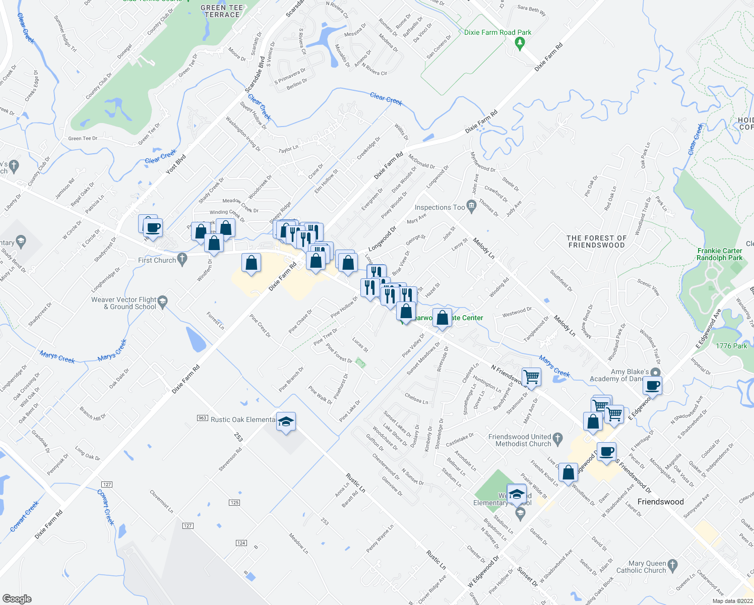 map of restaurants, bars, coffee shops, grocery stores, and more near 1302 East Broadway Street in Pearland