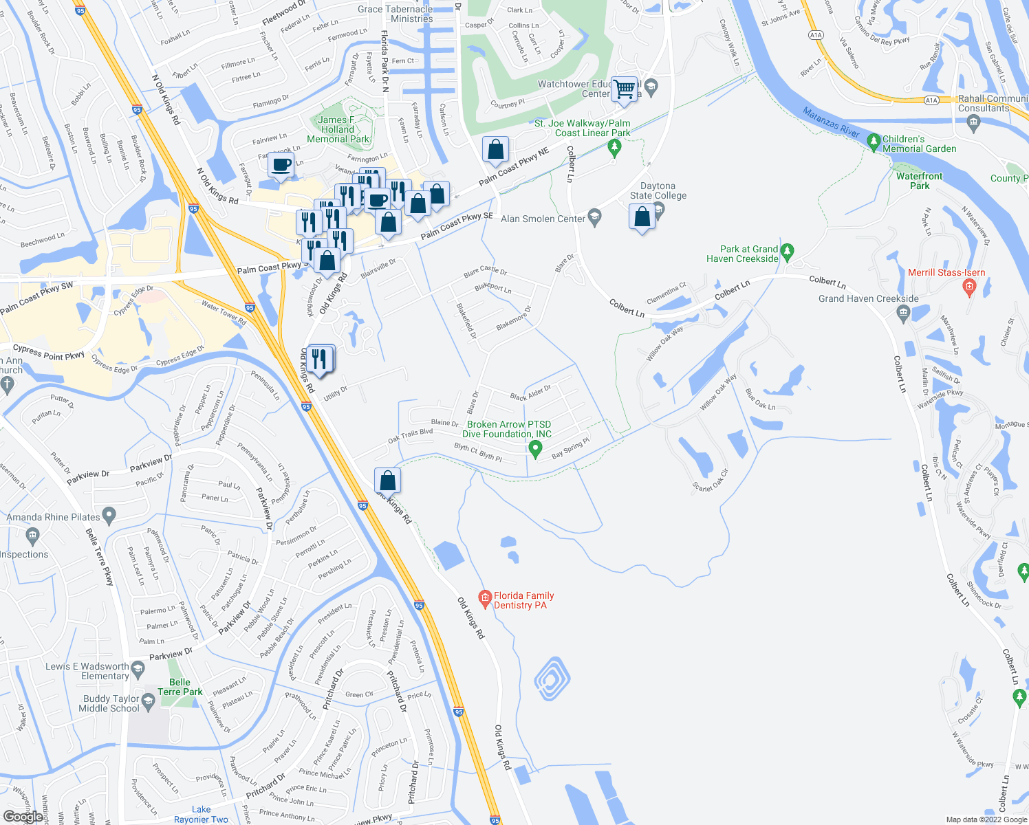 map of restaurants, bars, coffee shops, grocery stores, and more near 22 Blackwell Place in Palm Coast