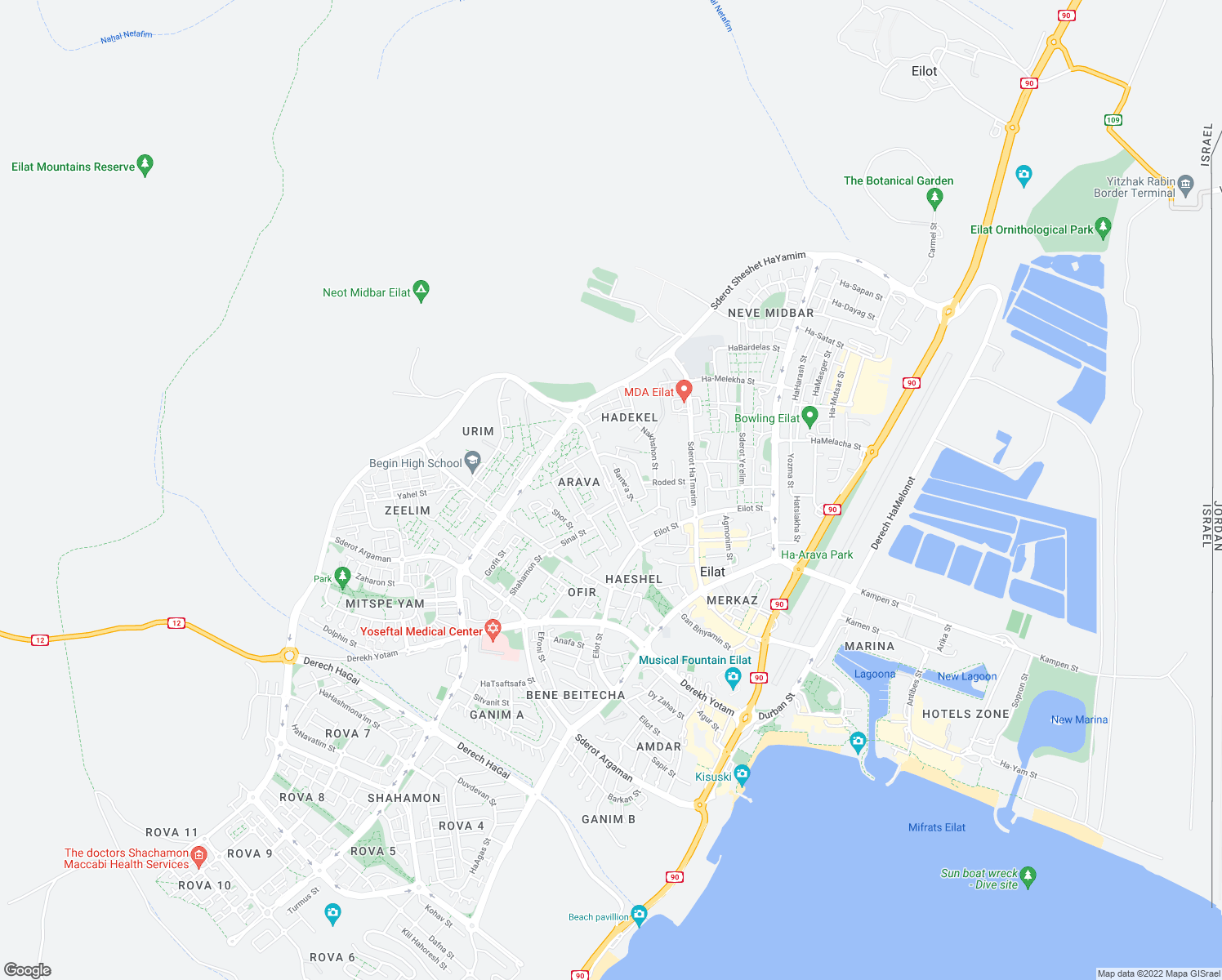 map of restaurants, bars, coffee shops, grocery stores, and more near 25 Sderot Yerushalayim HaShlema in Eilat