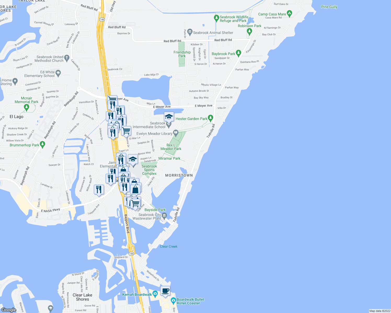 map of restaurants, bars, coffee shops, grocery stores, and more near 2301 Todville Road in Seabrook
