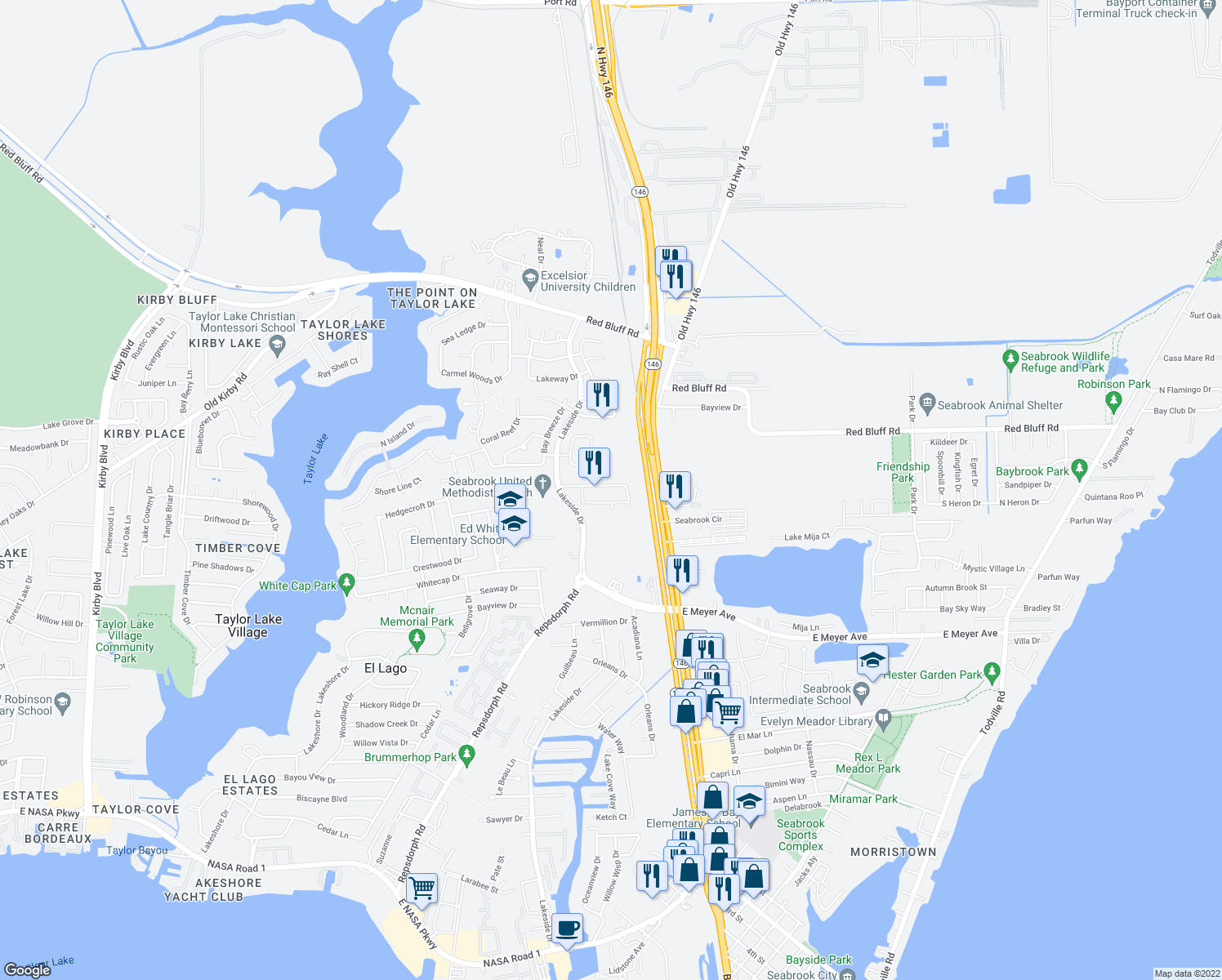 map of restaurants, bars, coffee shops, grocery stores, and more near 2517 Wild Oak Forest Lane in Seabrook