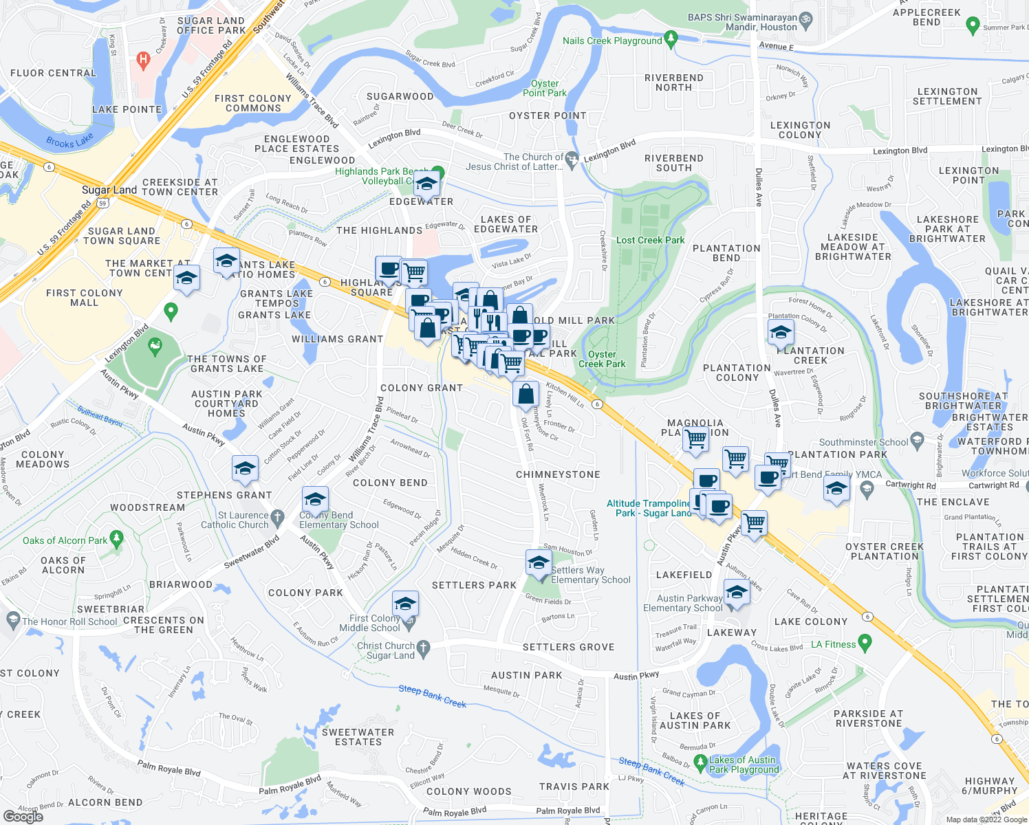 map of restaurants, bars, coffee shops, grocery stores, and more near Settlers Way Boulevard in Sugar Land