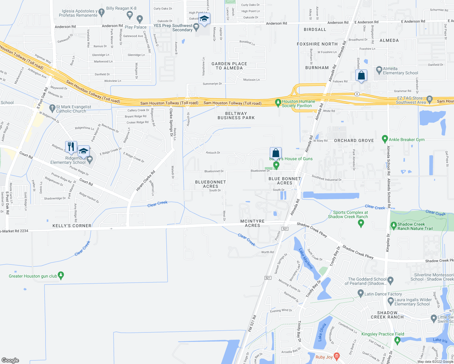 map of restaurants, bars, coffee shops, grocery stores, and more near West Dr in Fort Bend