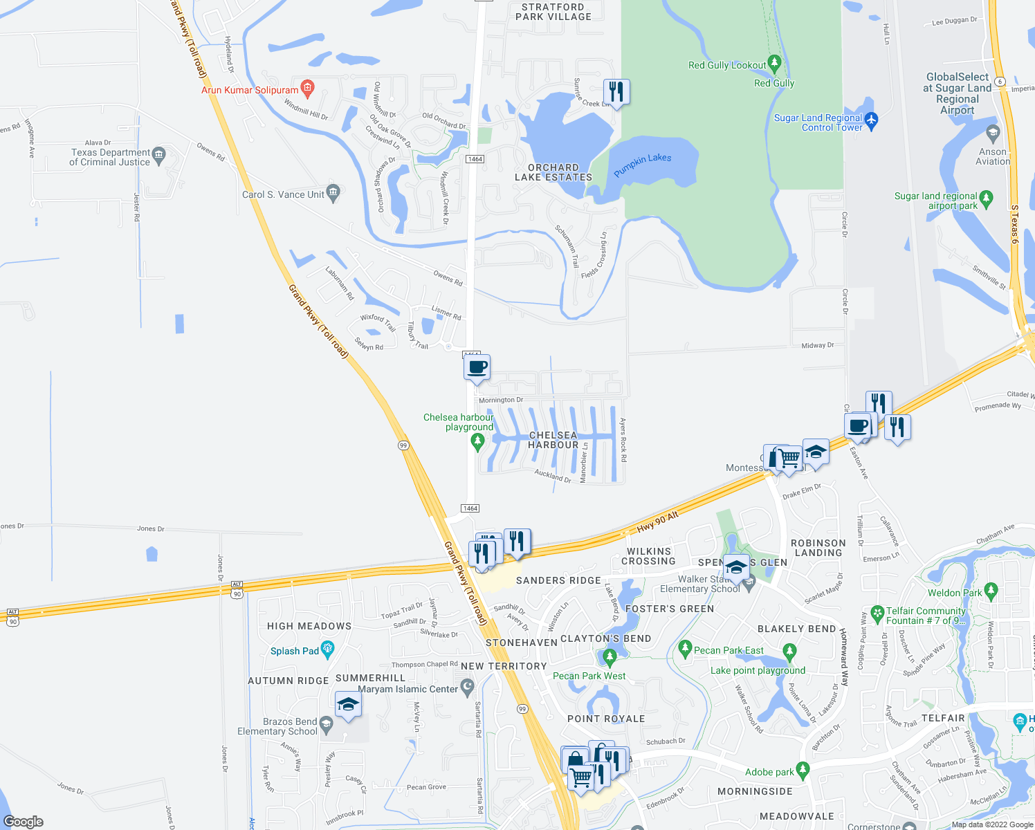 map of restaurants, bars, coffee shops, grocery stores, and more near 14218 Ingham Court in Sugar Land