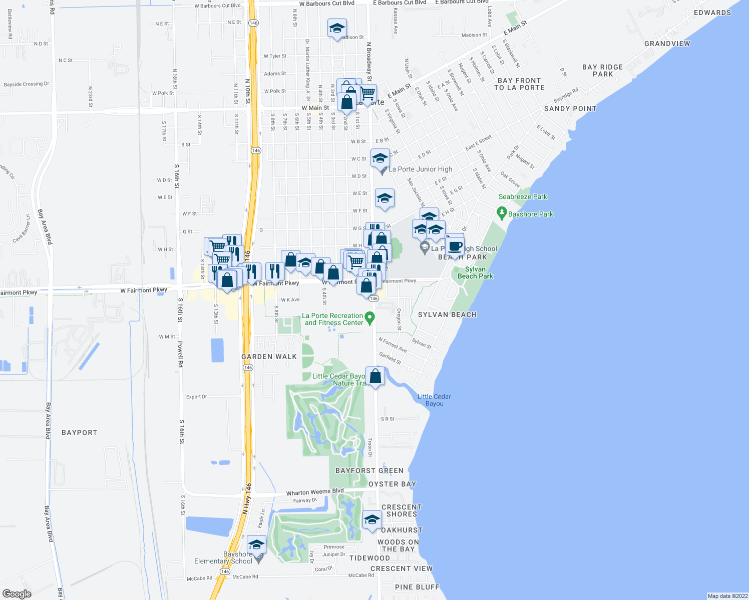 map of restaurants, bars, coffee shops, grocery stores, and more near 1176-1216 South Broadway Street in La Porte