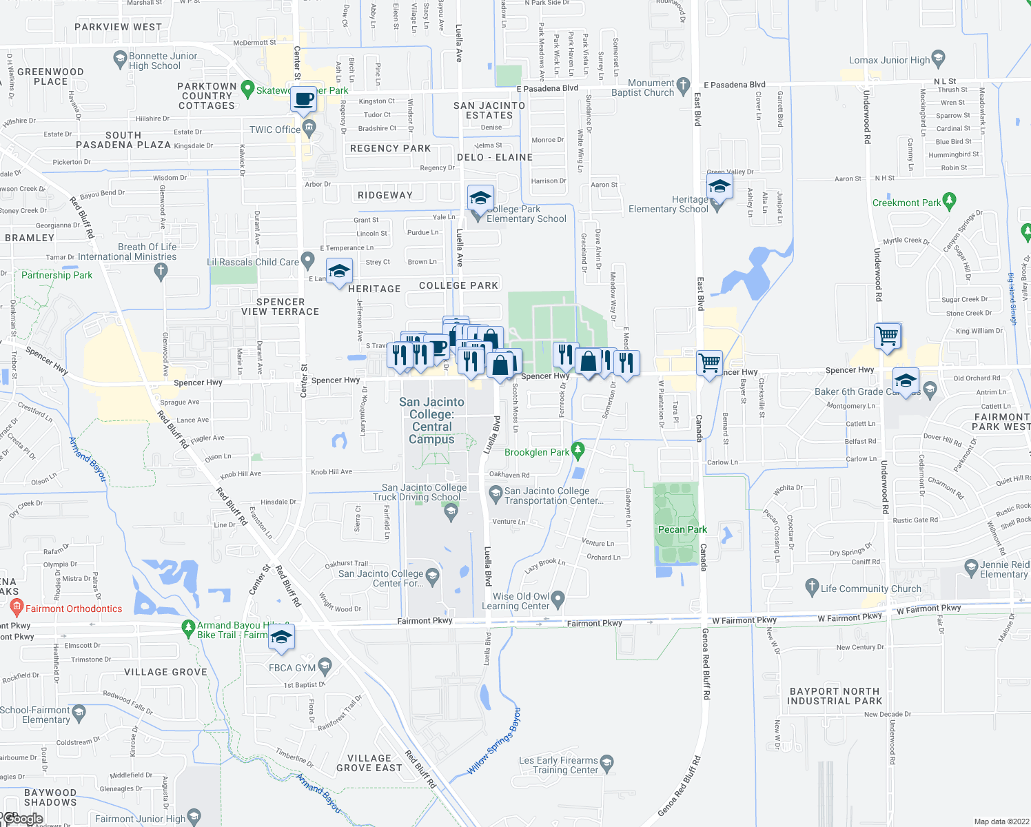 map of restaurants, bars, coffee shops, grocery stores, and more near 3208 Scotch Moss Lane in La Porte