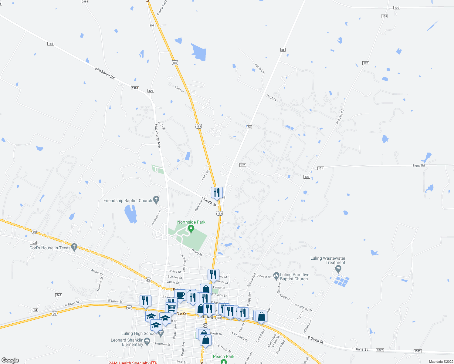 map of restaurants, bars, coffee shops, grocery stores, and more near 200 Farm to Market Road 86 in Luling