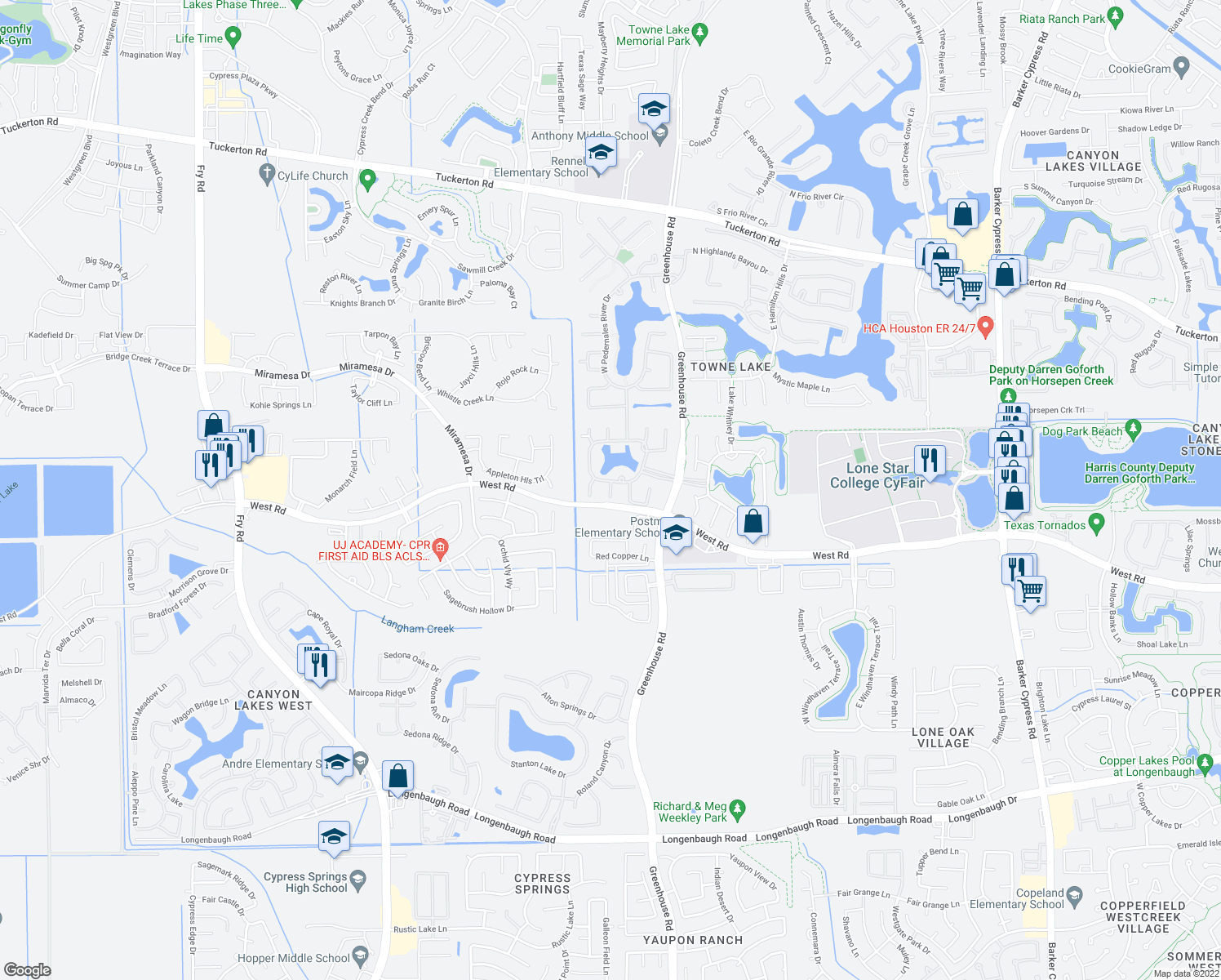 map of restaurants, bars, coffee shops, grocery stores, and more near 9103 Amistad Lake Cir in Cypress