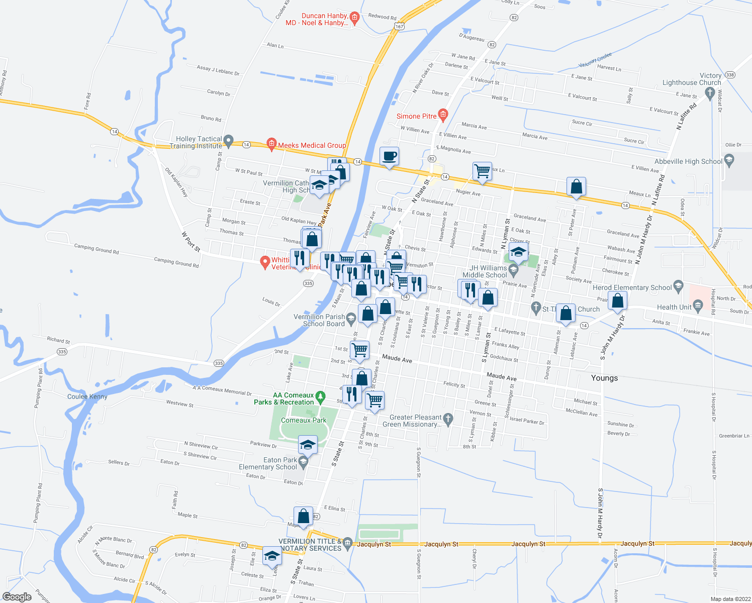 map of restaurants, bars, coffee shops, grocery stores, and more near 100-198 West Lafayette Street in Abbeville