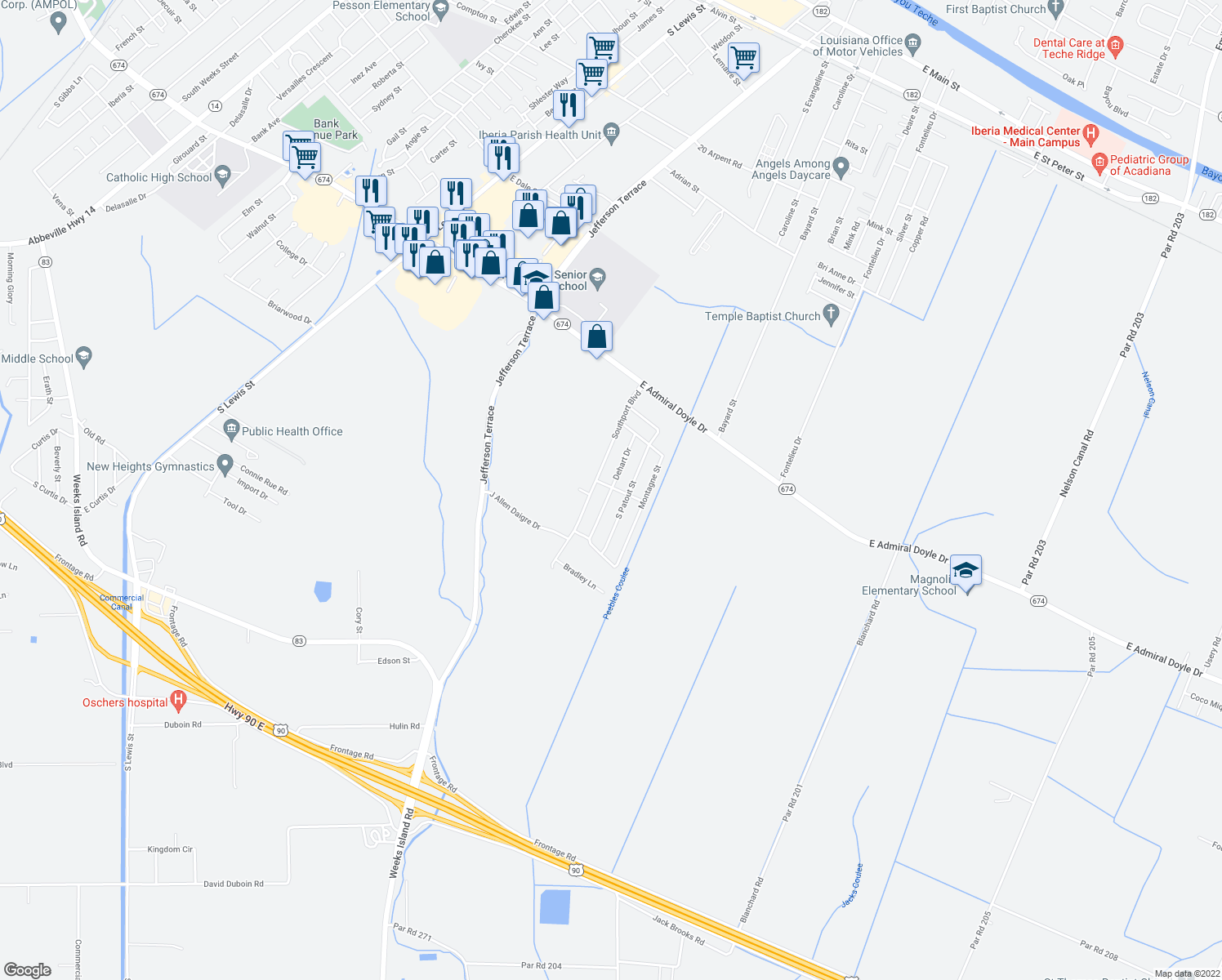 map of restaurants, bars, coffee shops, grocery stores, and more near 1417 Dehart Drive in New Iberia