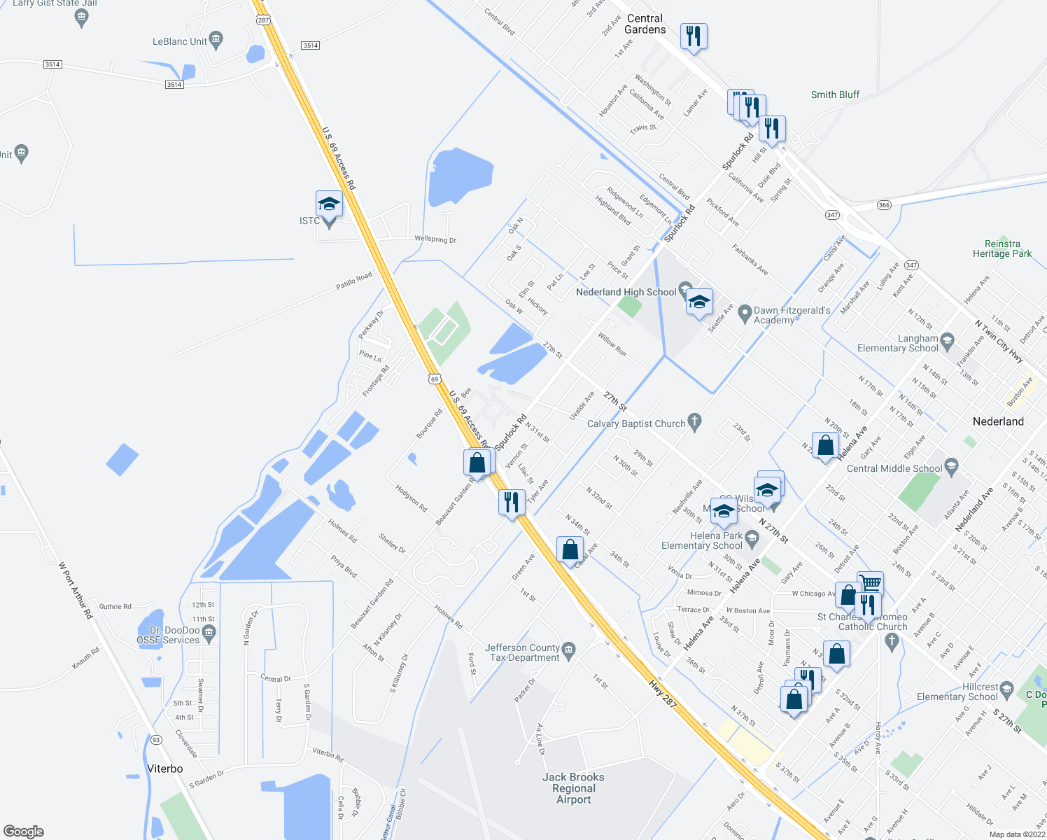 map of restaurants, bars, coffee shops, grocery stores, and more near 2400-2498 31st Street in Nederland