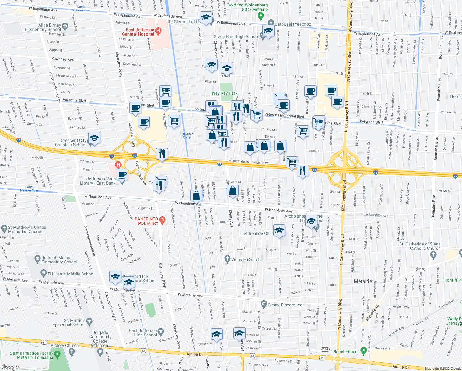 map of restaurants, bars, coffee shops, grocery stores, and more near 2305 Cleary Avenue in Metairie