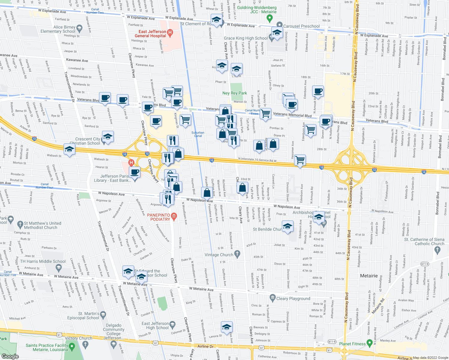 map of restaurants, bars, coffee shops, grocery stores, and more near 2500 Pasadena Avenue in Metairie