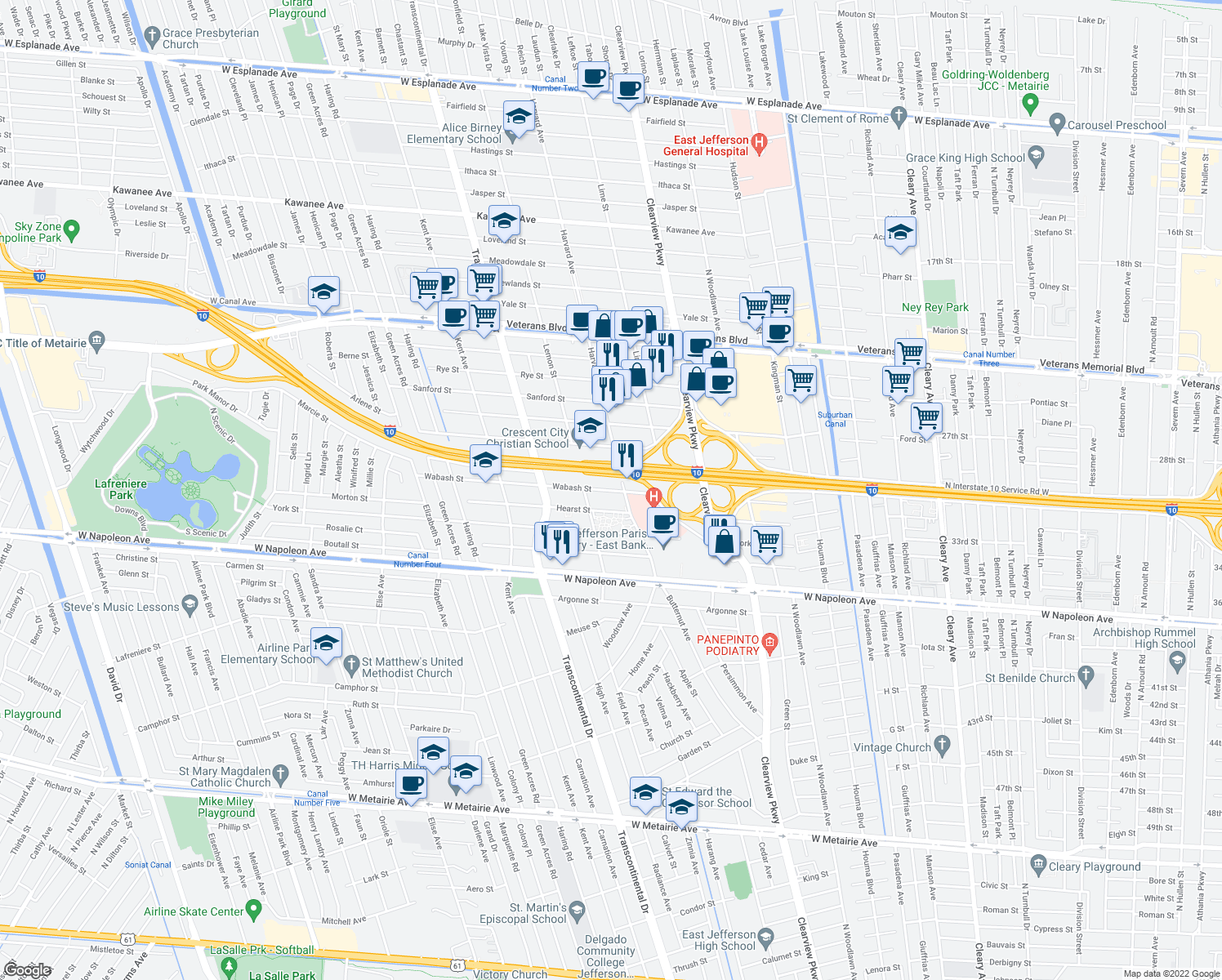 map of restaurants, bars, coffee shops, grocery stores, and more near 4833 Wabash Street in Metairie