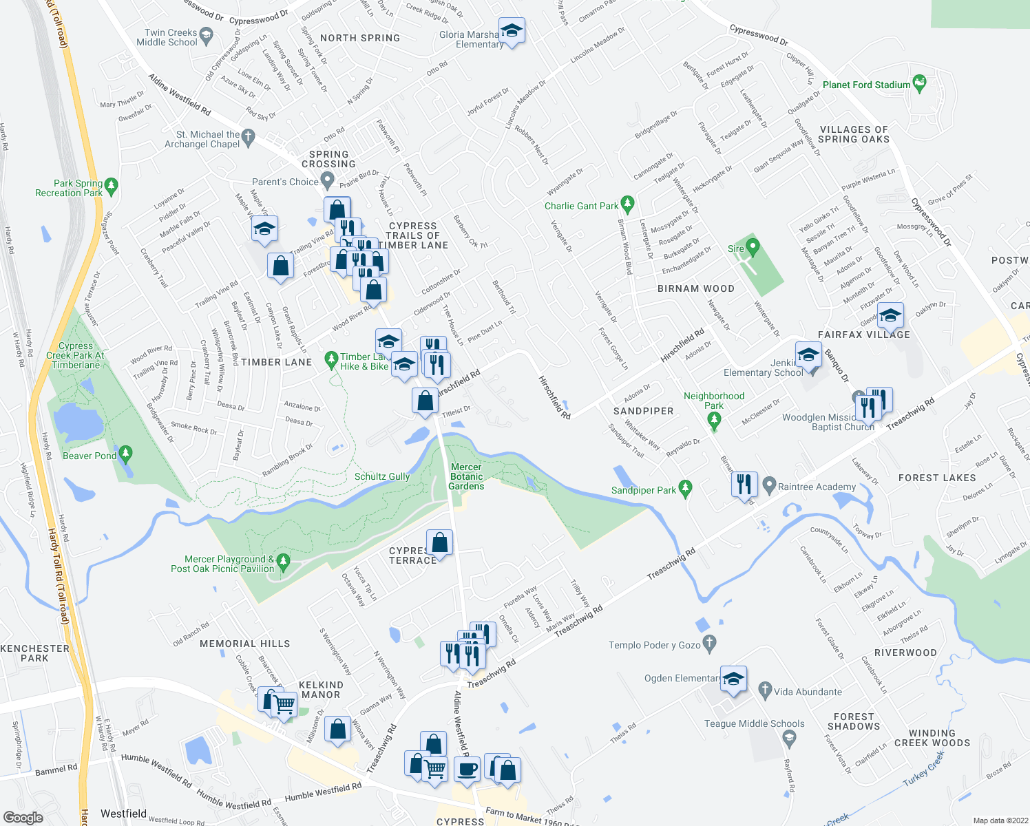 map of restaurants, bars, coffee shops, grocery stores, and more near 22320 Tree House Lane in Spring