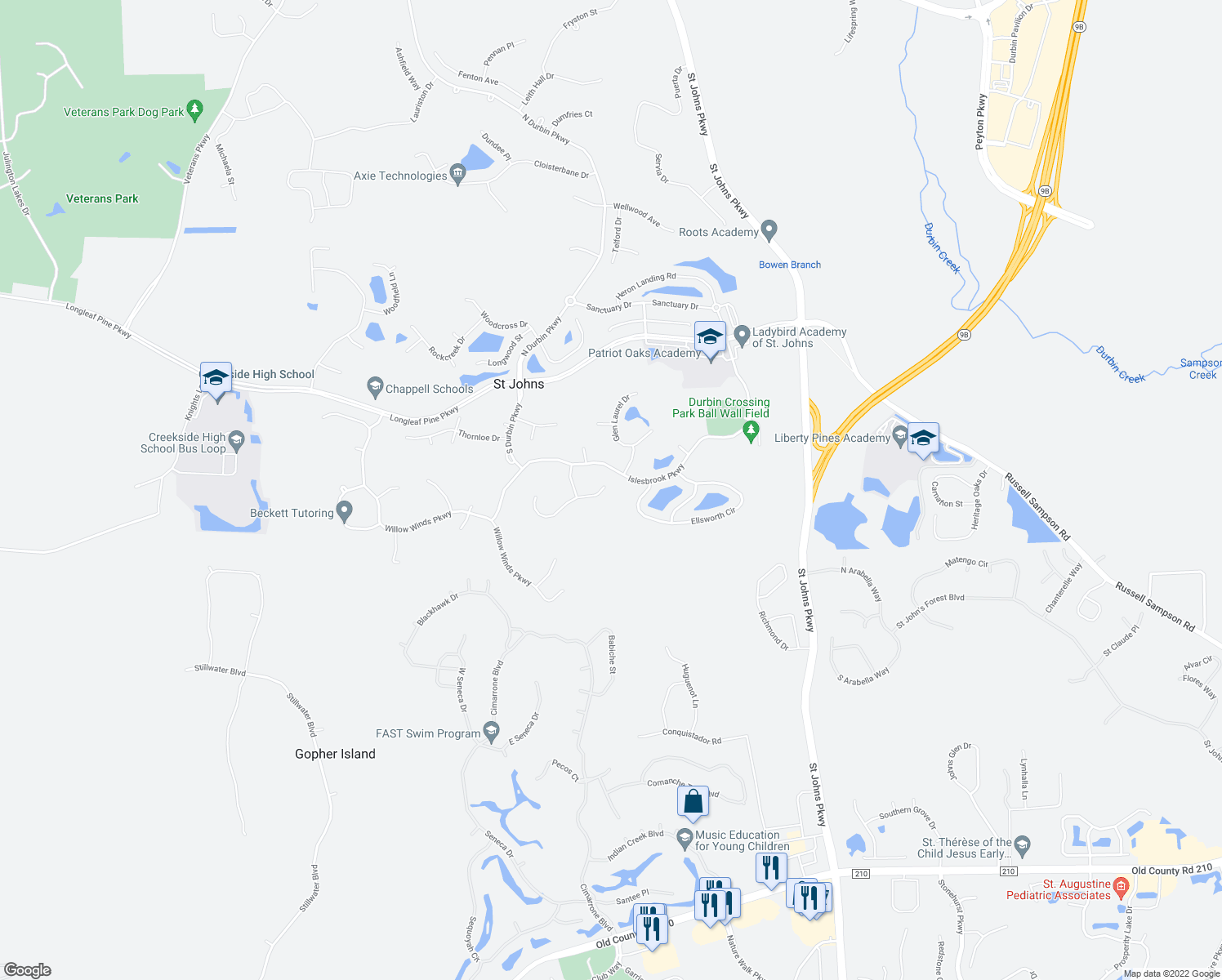 map of restaurants, bars, coffee shops, grocery stores, and more near 125 East Berkswell Drive in Saint Johns