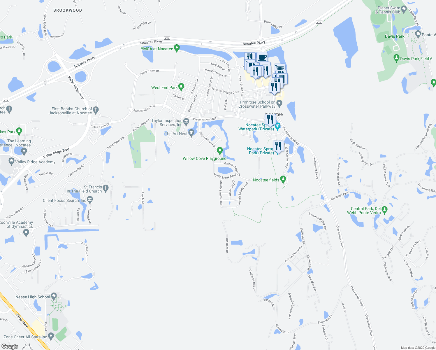 map of restaurants, bars, coffee shops, grocery stores, and more near 269 Myrtle Brook Bend in Ponte Vedra