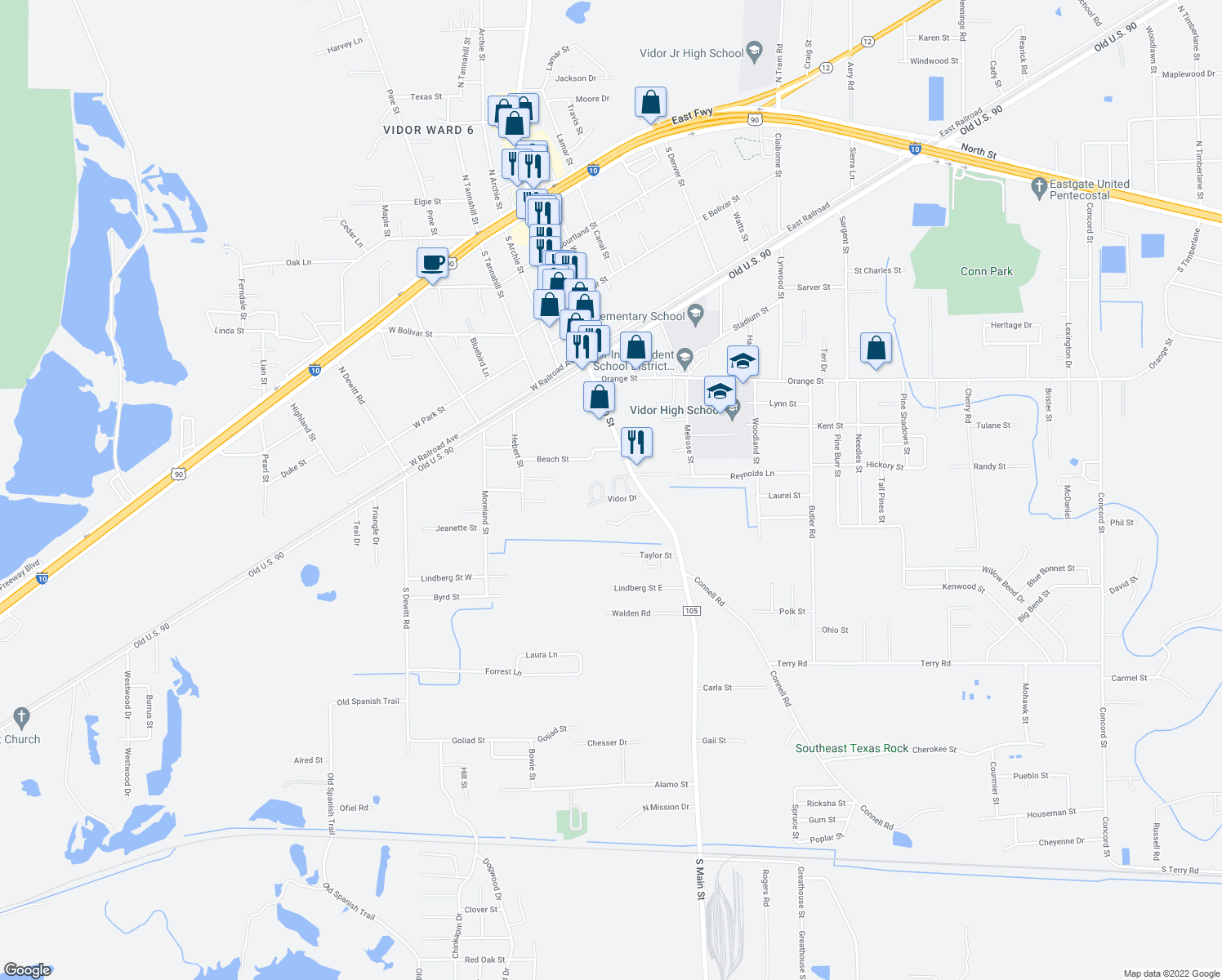 map of restaurants, bars, coffee shops, grocery stores, and more near 205 Vidor Drive in Vidor