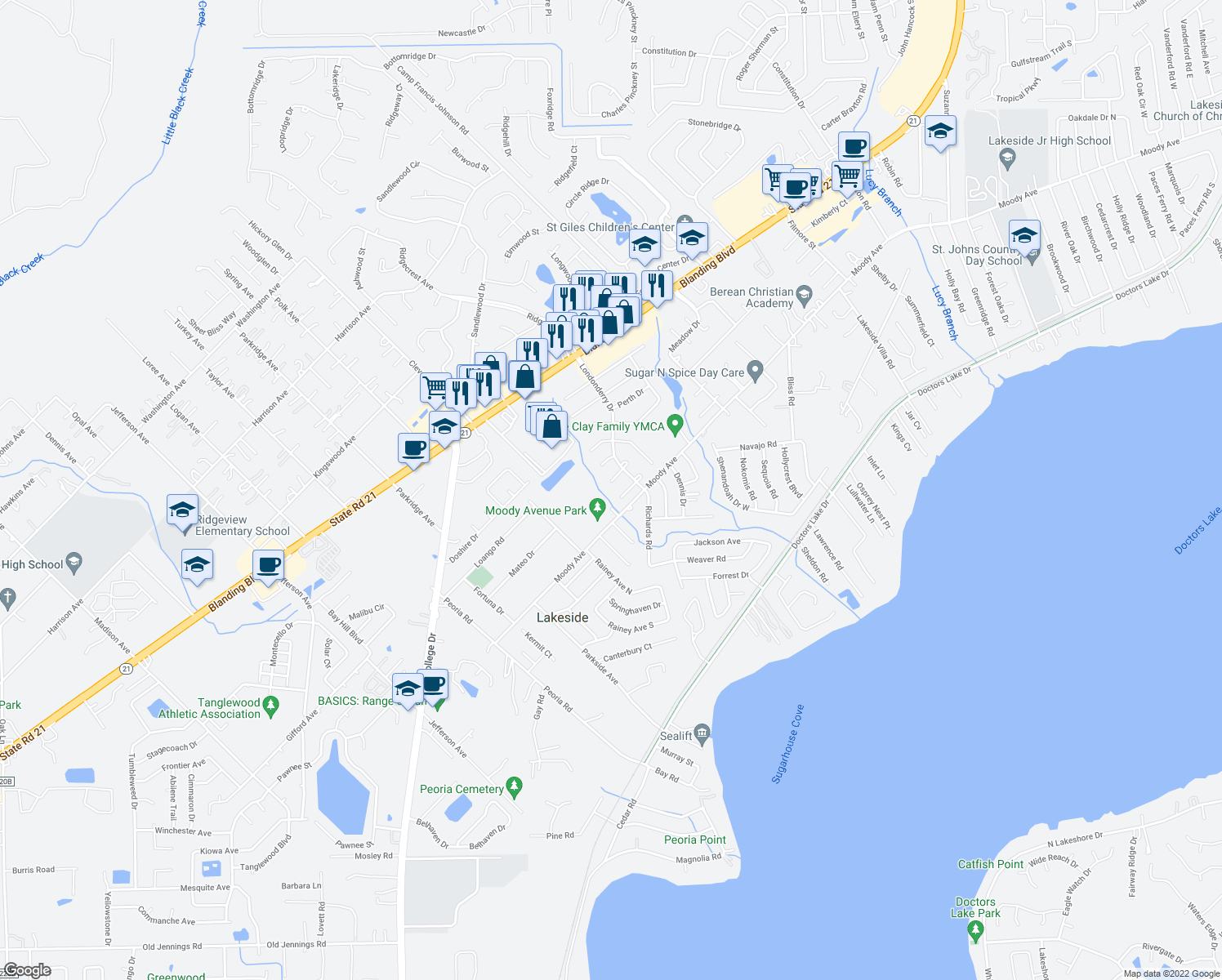 map of restaurants, bars, coffee shops, grocery stores, and more near 2415 Dublin Court in Orange Park