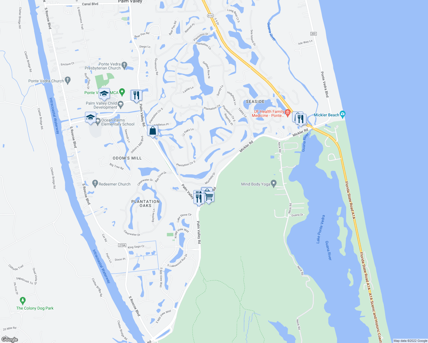 map of restaurants, bars, coffee shops, grocery stores, and more near 211 Solano Woods Drive in Ponte Vedra Beach