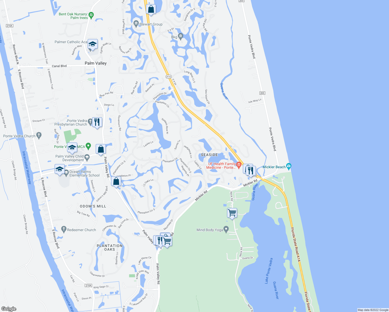map of restaurants, bars, coffee shops, grocery stores, and more near 123 Crosstide Circle in Ponte Vedra