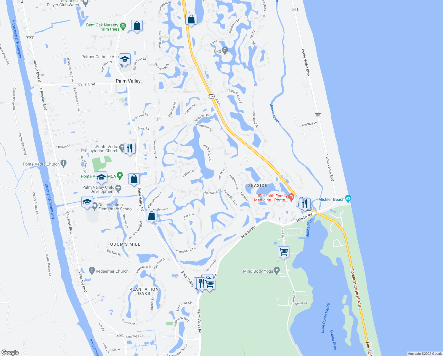 map of restaurants, bars, coffee shops, grocery stores, and more near 111 Surrey Lane in Ponte Vedra Beach