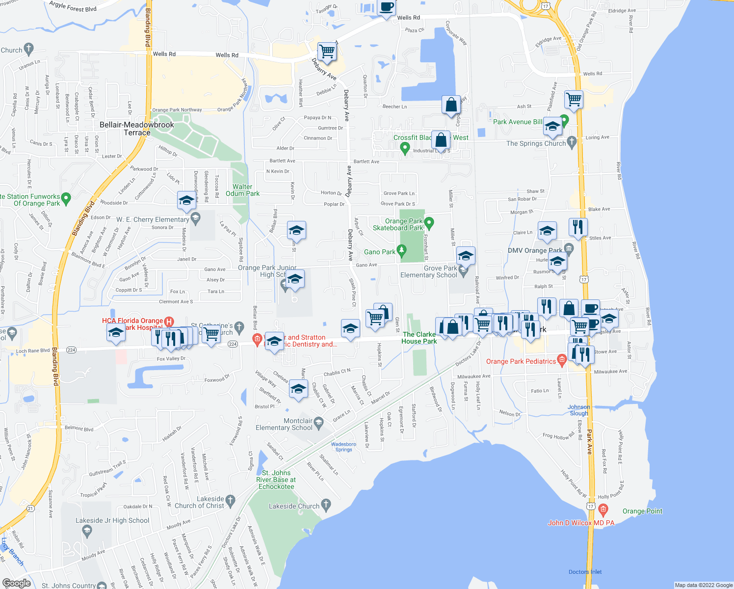 map of restaurants, bars, coffee shops, grocery stores, and more near 1809 Debarry Avenue in Orange Park