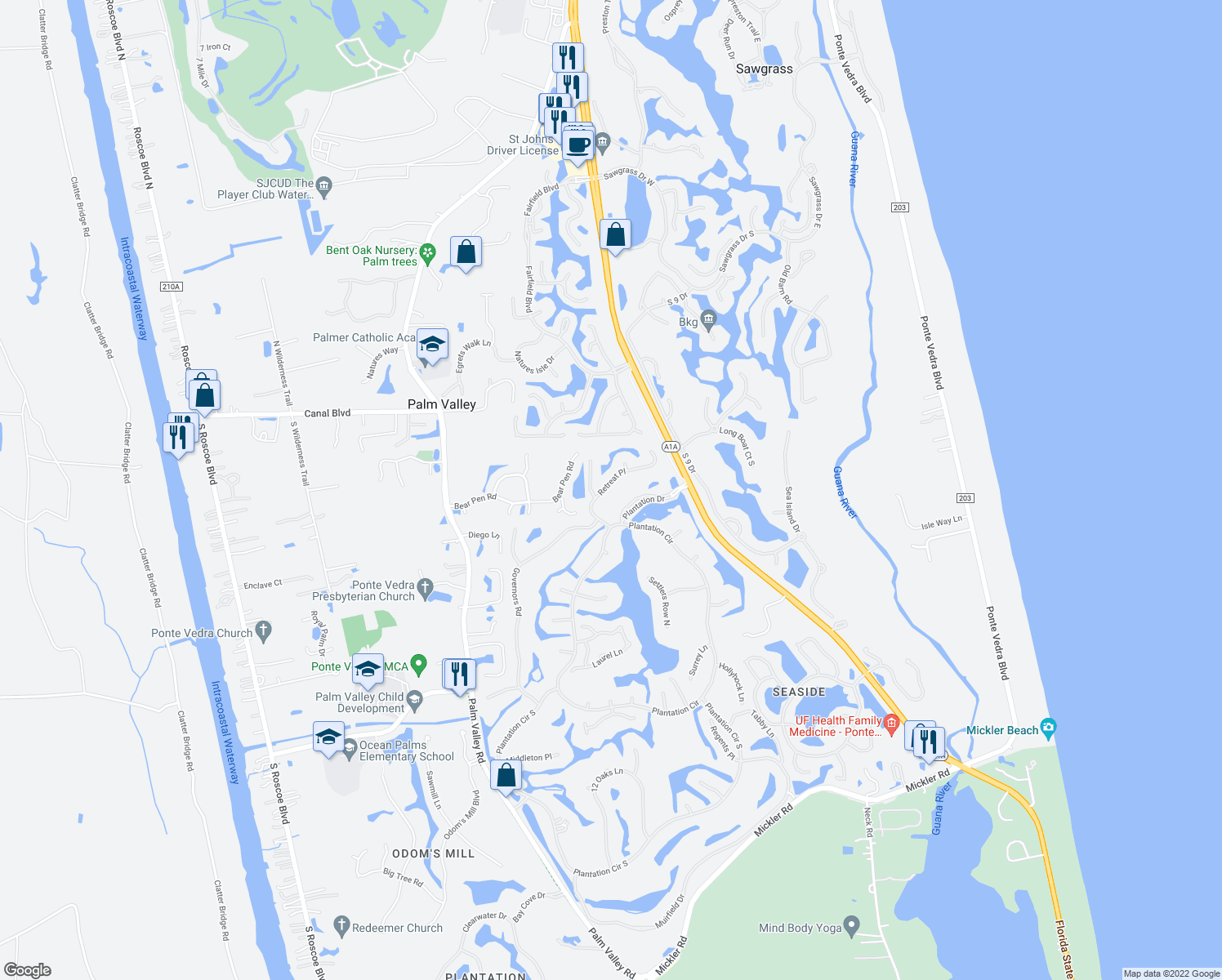 map of restaurants, bars, coffee shops, grocery stores, and more near 128 Retreat Place in Ponte Vedra Beach