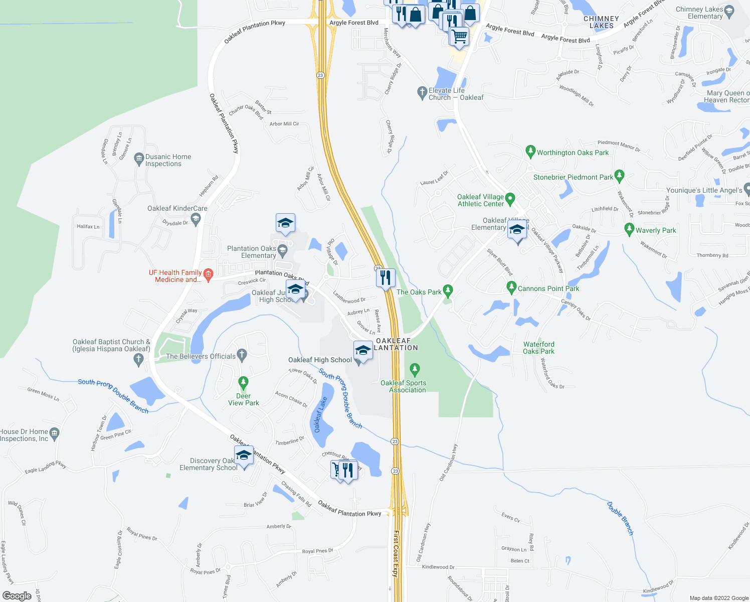 map of restaurants, bars, coffee shops, grocery stores, and more near 3901 Leatherwood Drive in Orange Park