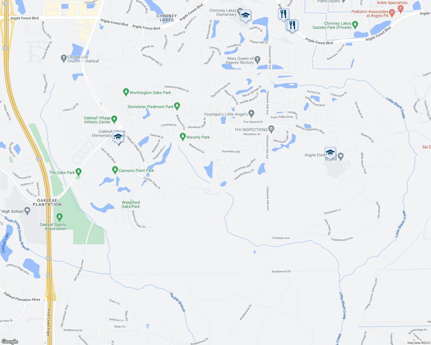 map of restaurants, bars, coffee shops, grocery stores, and more near 674 Scarlet View Court in Orange Park