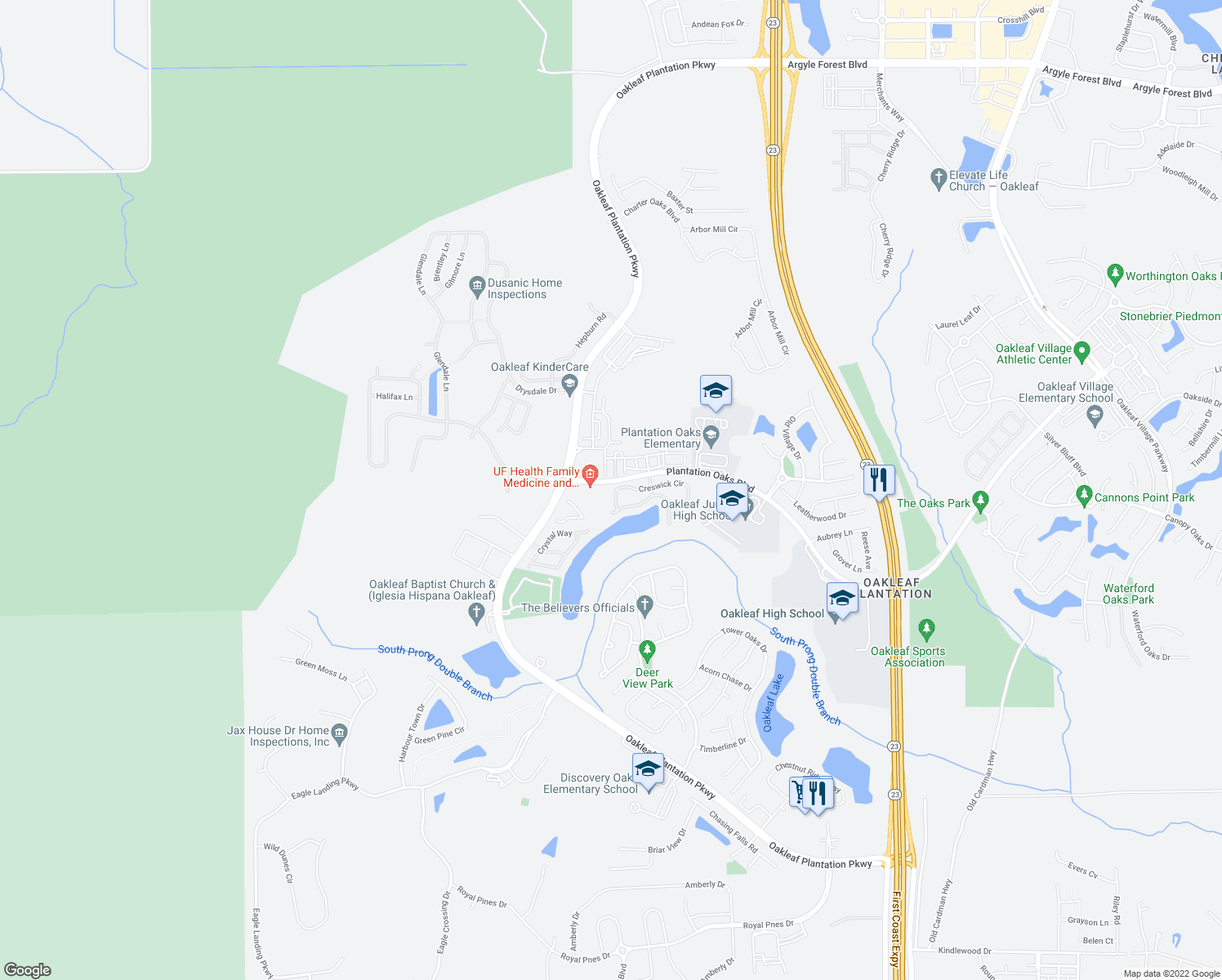 map of restaurants, bars, coffee shops, grocery stores, and more near 4220 Plantation Oaks Boulevard in Orange Park
