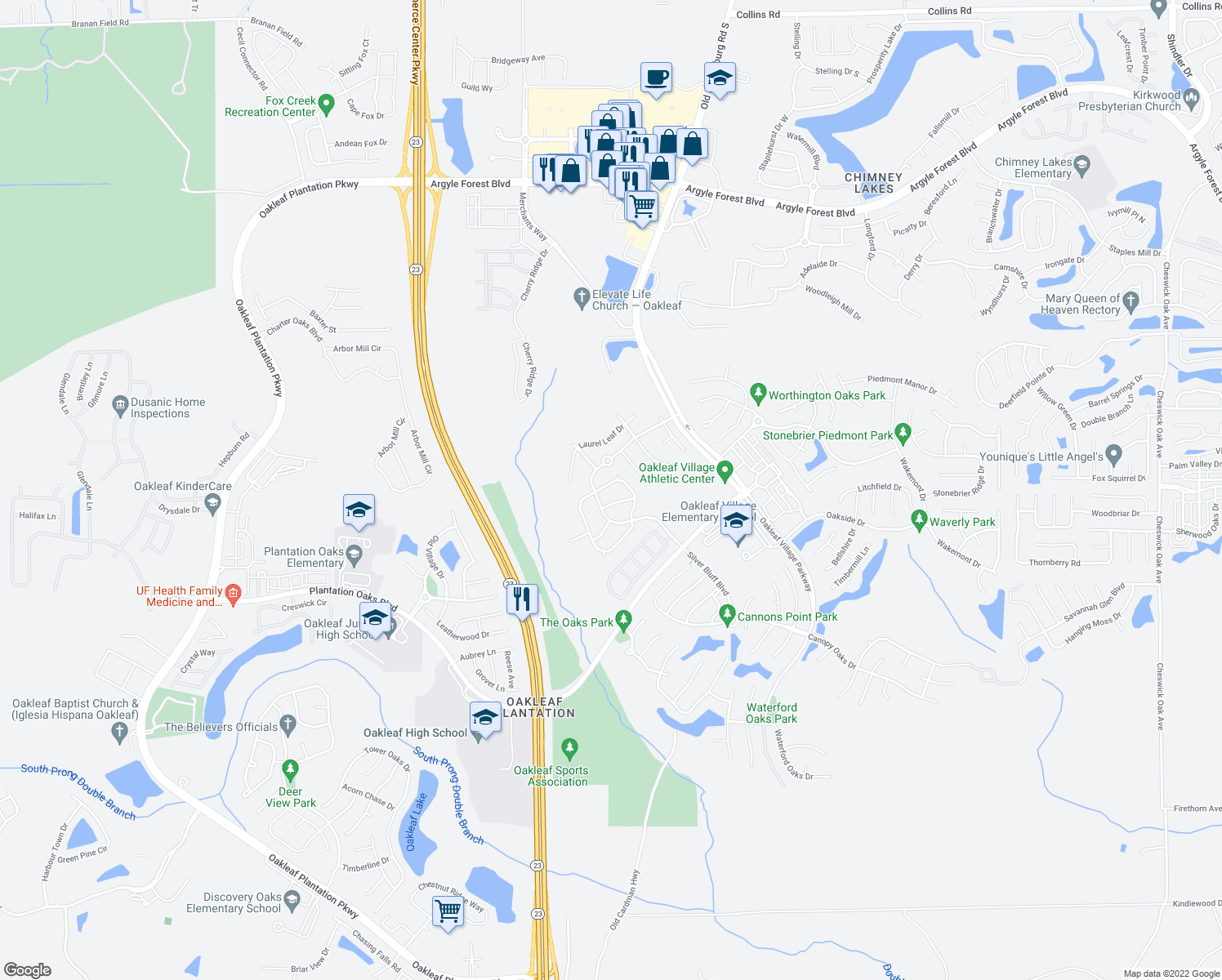 map of restaurants, bars, coffee shops, grocery stores, and more near 4123 Pebble Brooke Circle North in Orange Park