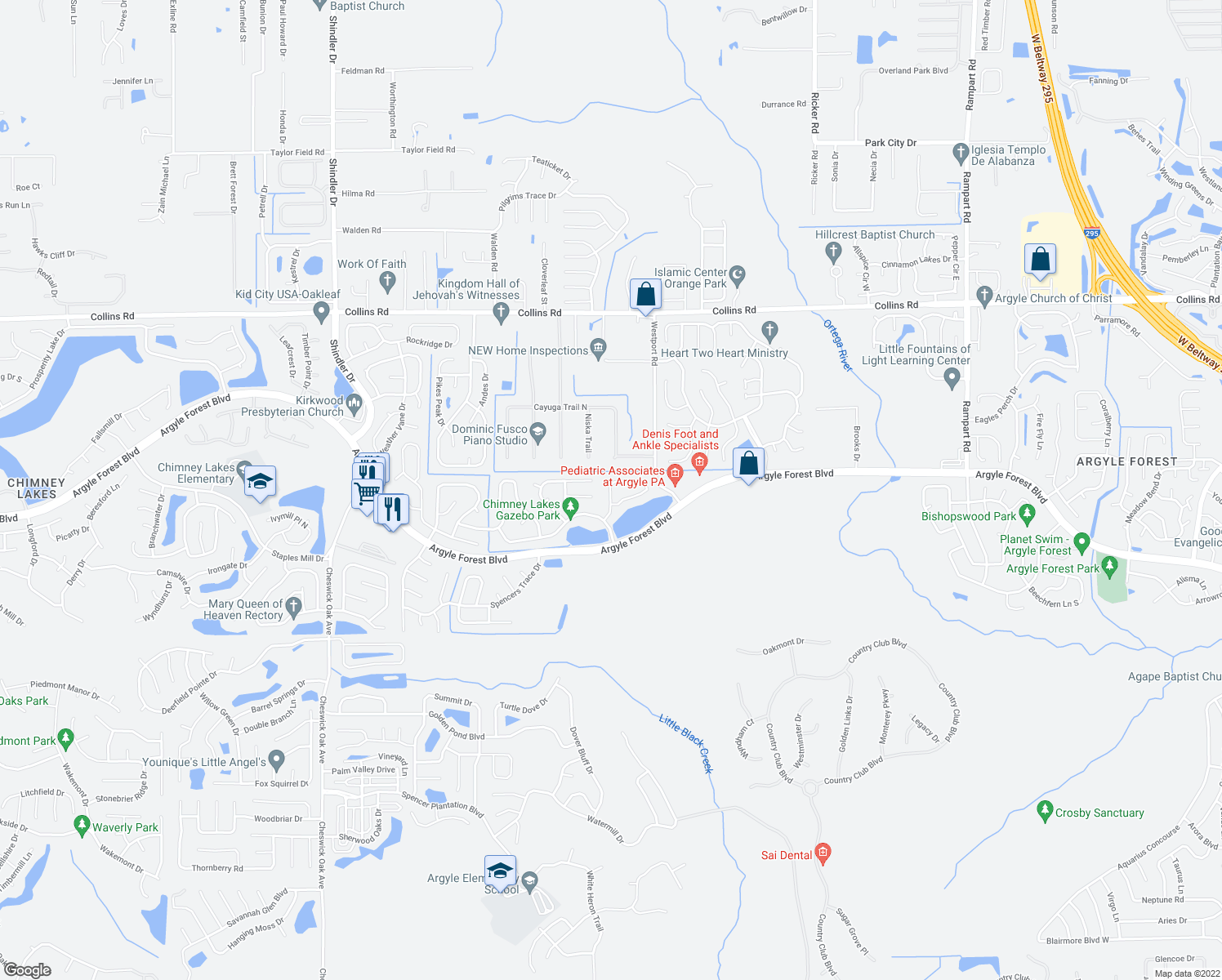 map of restaurants, bars, coffee shops, grocery stores, and more near 8039-8099 Copperfield Circle South in Jacksonville