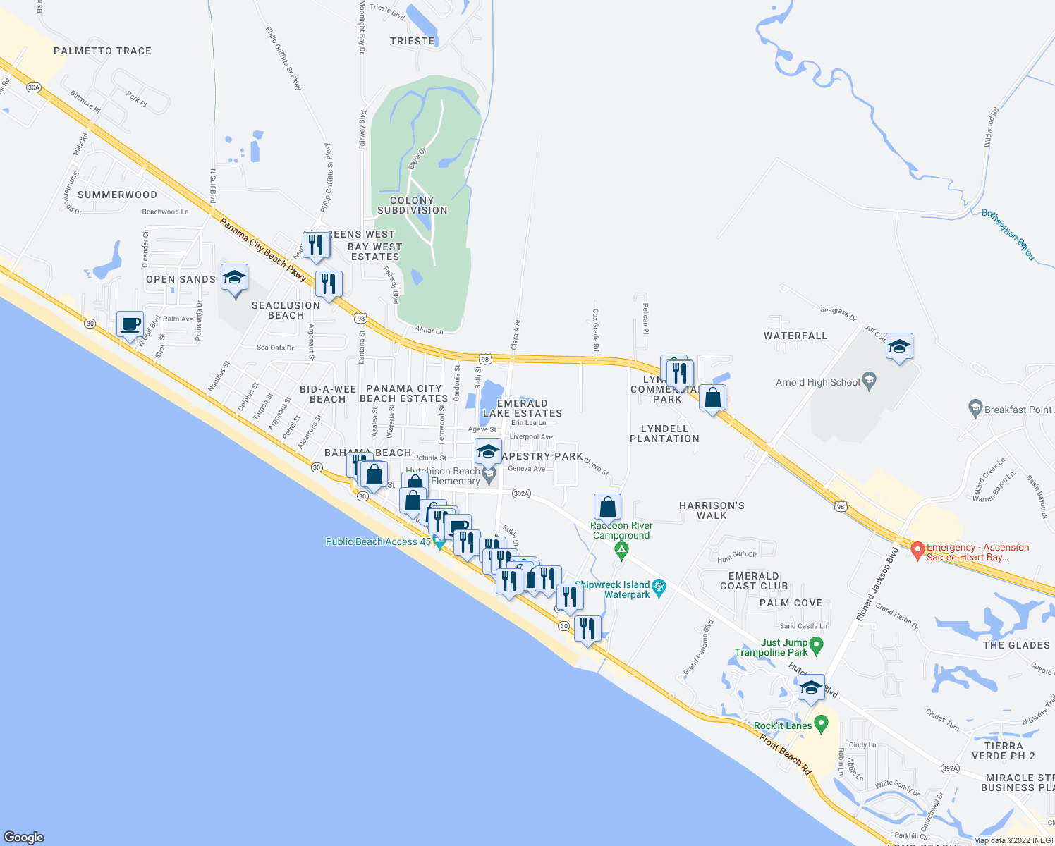 map of restaurants, bars, coffee shops, grocery stores, and more near Erin Lea Lane in Panama City Beach