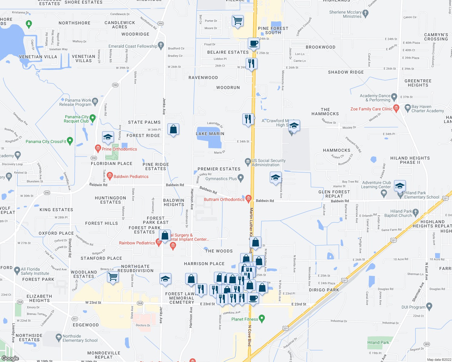 map of restaurants, bars, coffee shops, grocery stores, and more near 602 Baldwin Rowe Circle in Panama City