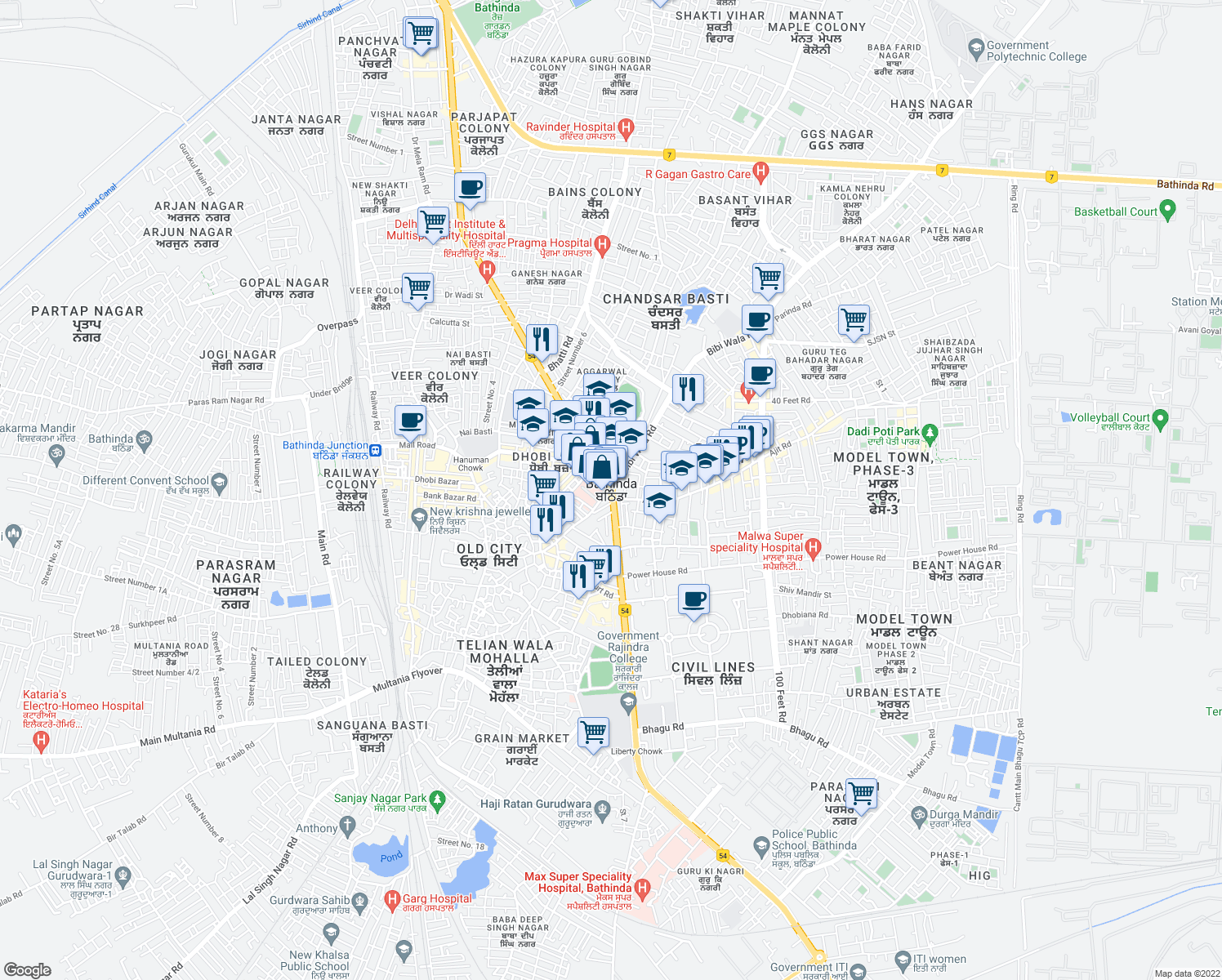 map of restaurants, bars, coffee shops, grocery stores, and more near in Bathinda