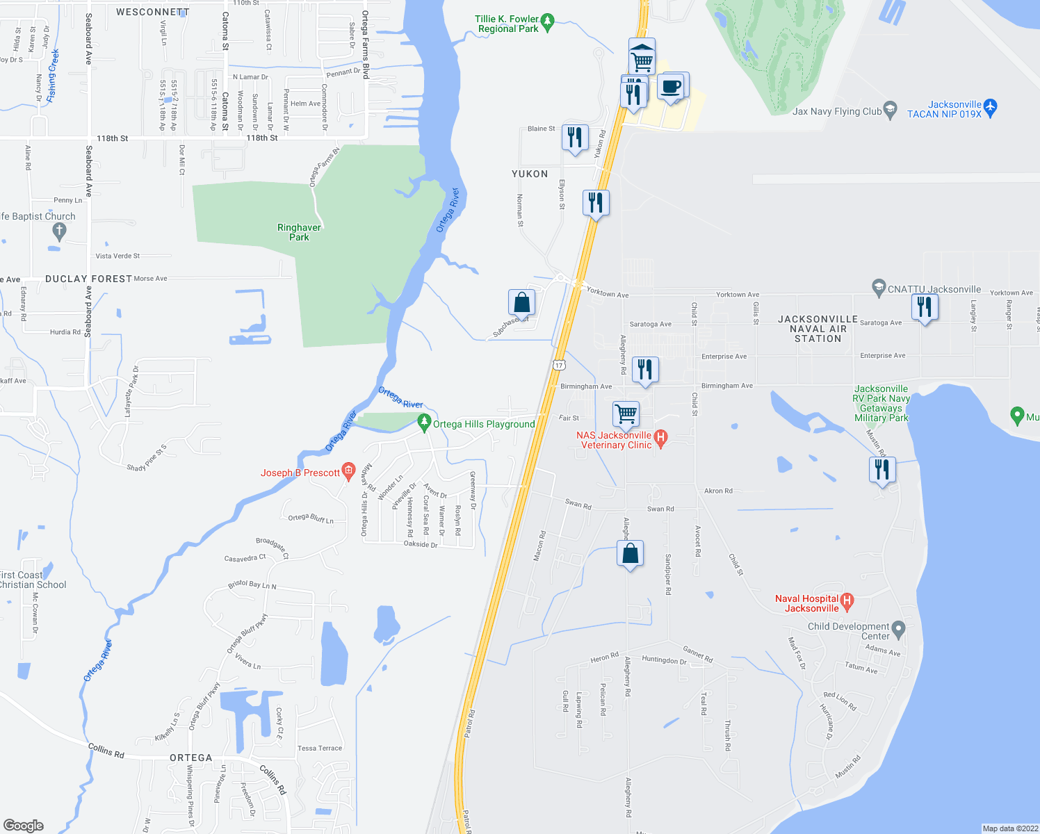 map of restaurants, bars, coffee shops, grocery stores, and more near 4700-4778 Ortega Hills Drive in Jacksonville