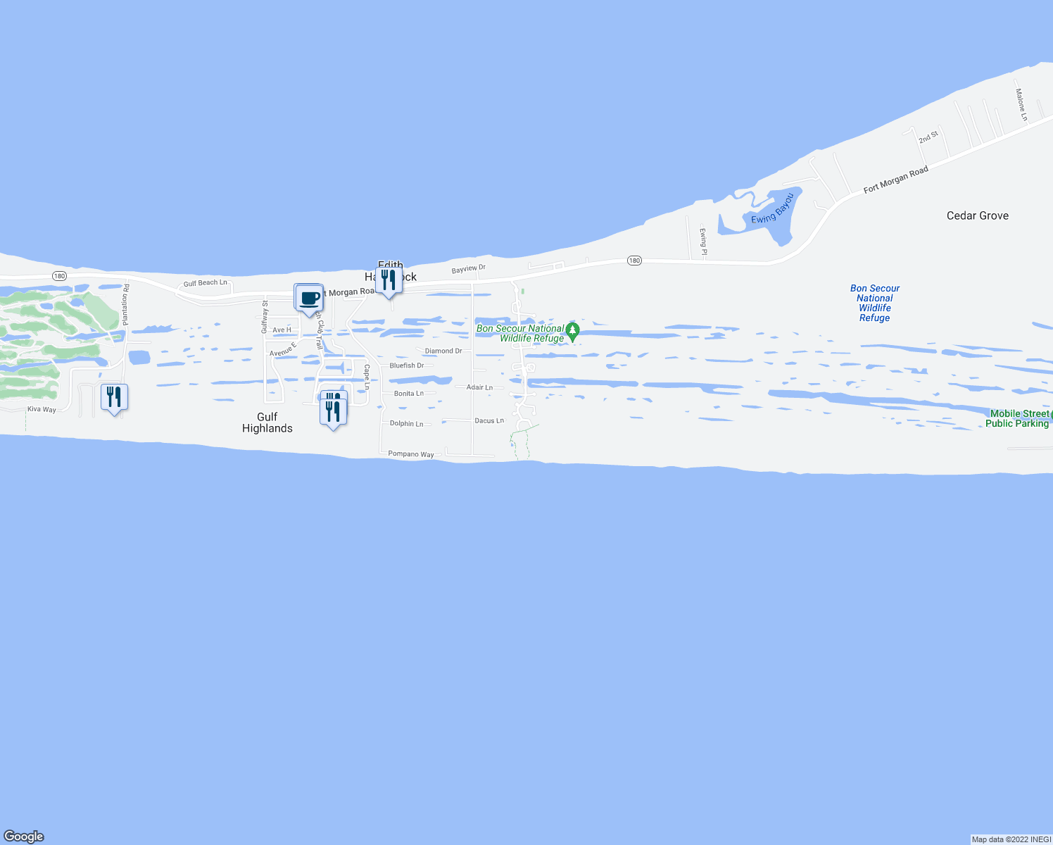 map of restaurants, bars, coffee shops, grocery stores, and more near Marigot Promenade in Gulf Shores