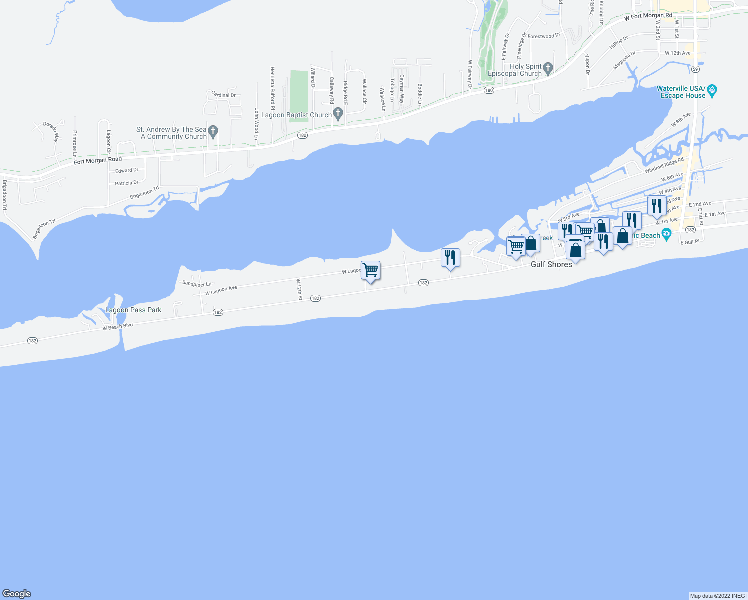map of restaurants, bars, coffee shops, grocery stores, and more near 1157 West Beach Boulevard in Gulf Shores