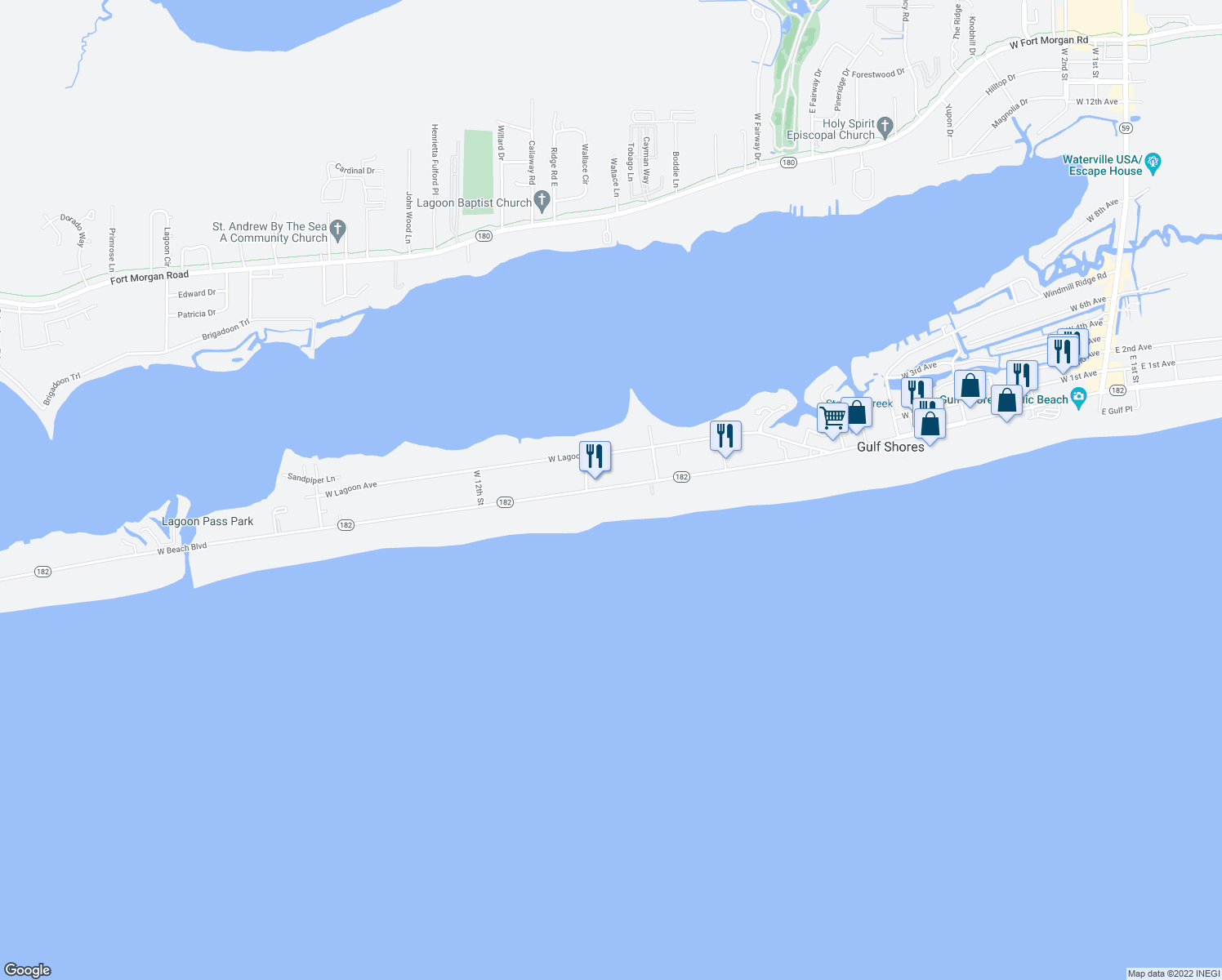 map of restaurants, bars, coffee shops, grocery stores, and more near 931 West Beach Boulevard in Gulf Shores