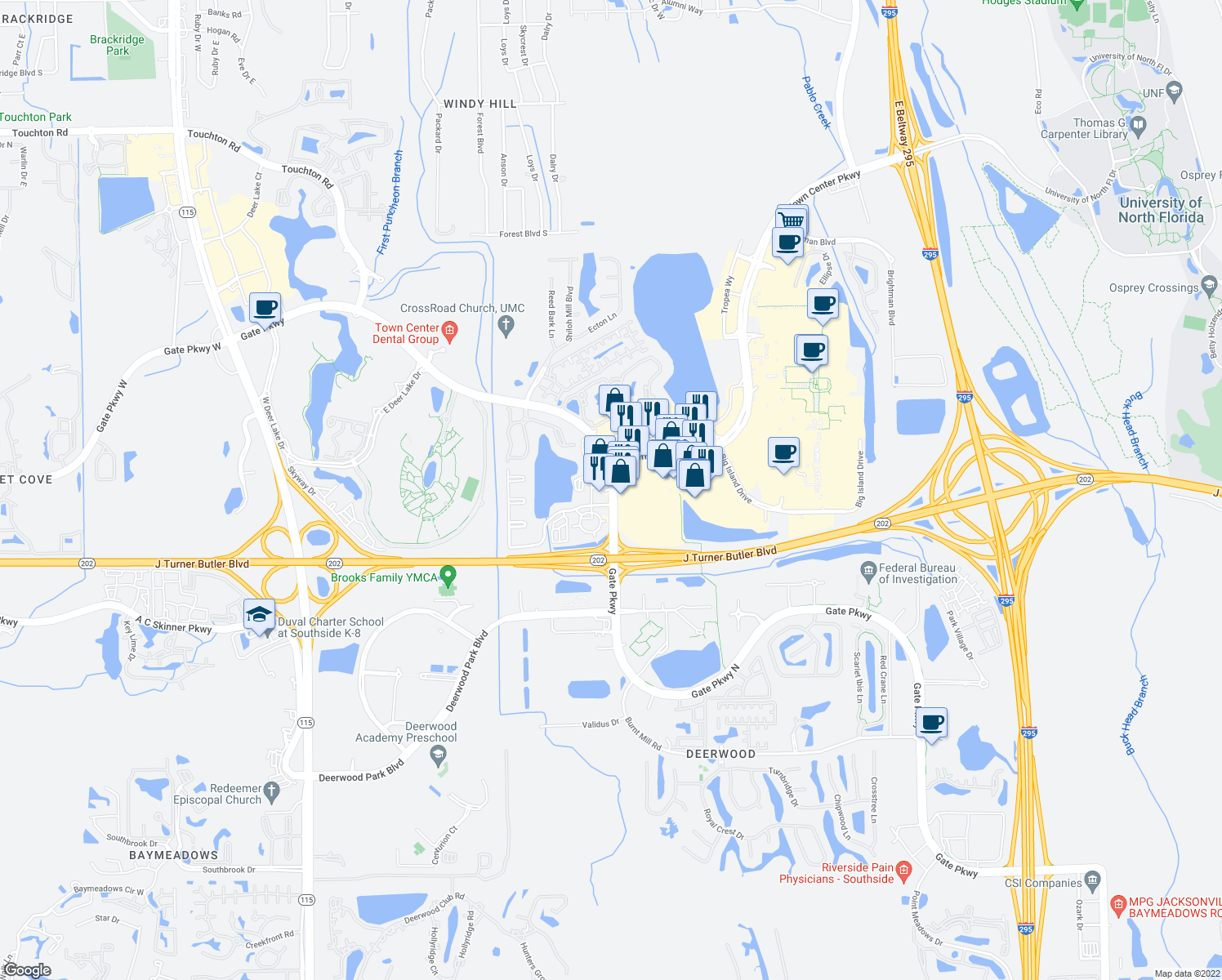 map of restaurants, bars, coffee shops, grocery stores, and more near Gate Parkway North in Jacksonville