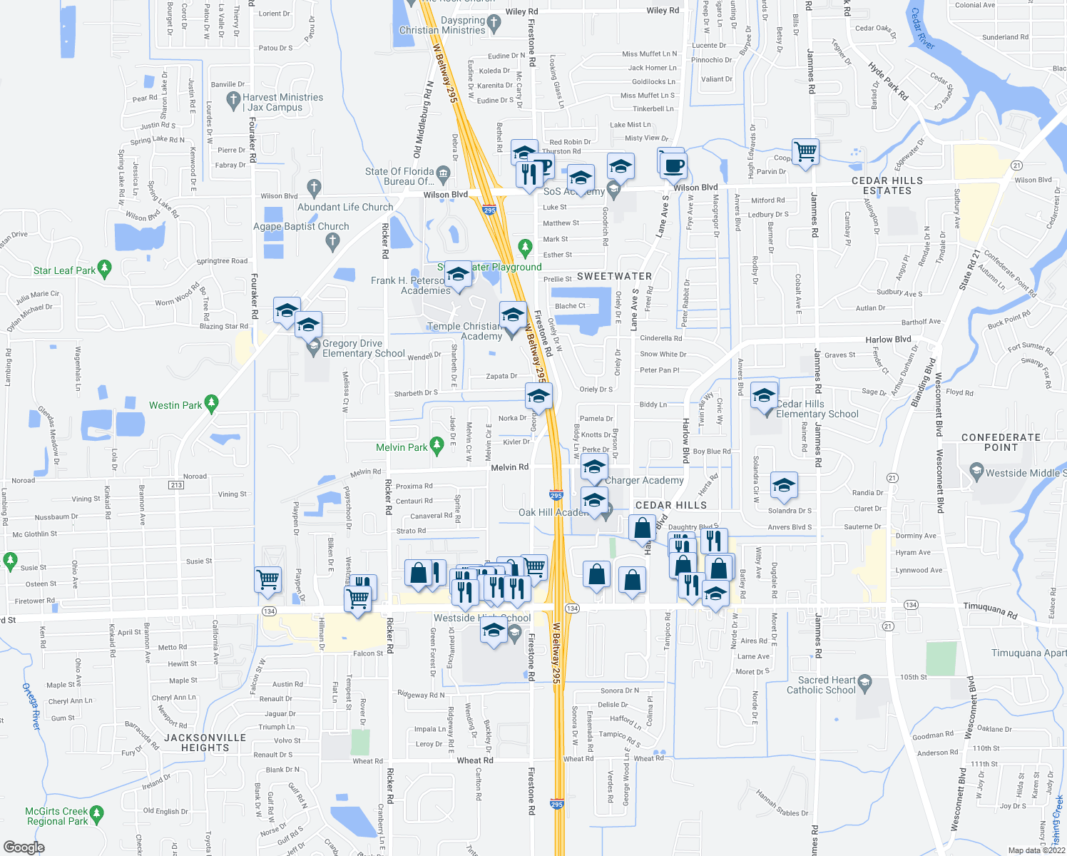 map of restaurants, bars, coffee shops, grocery stores, and more near 7210 Norka Drive in Jacksonville