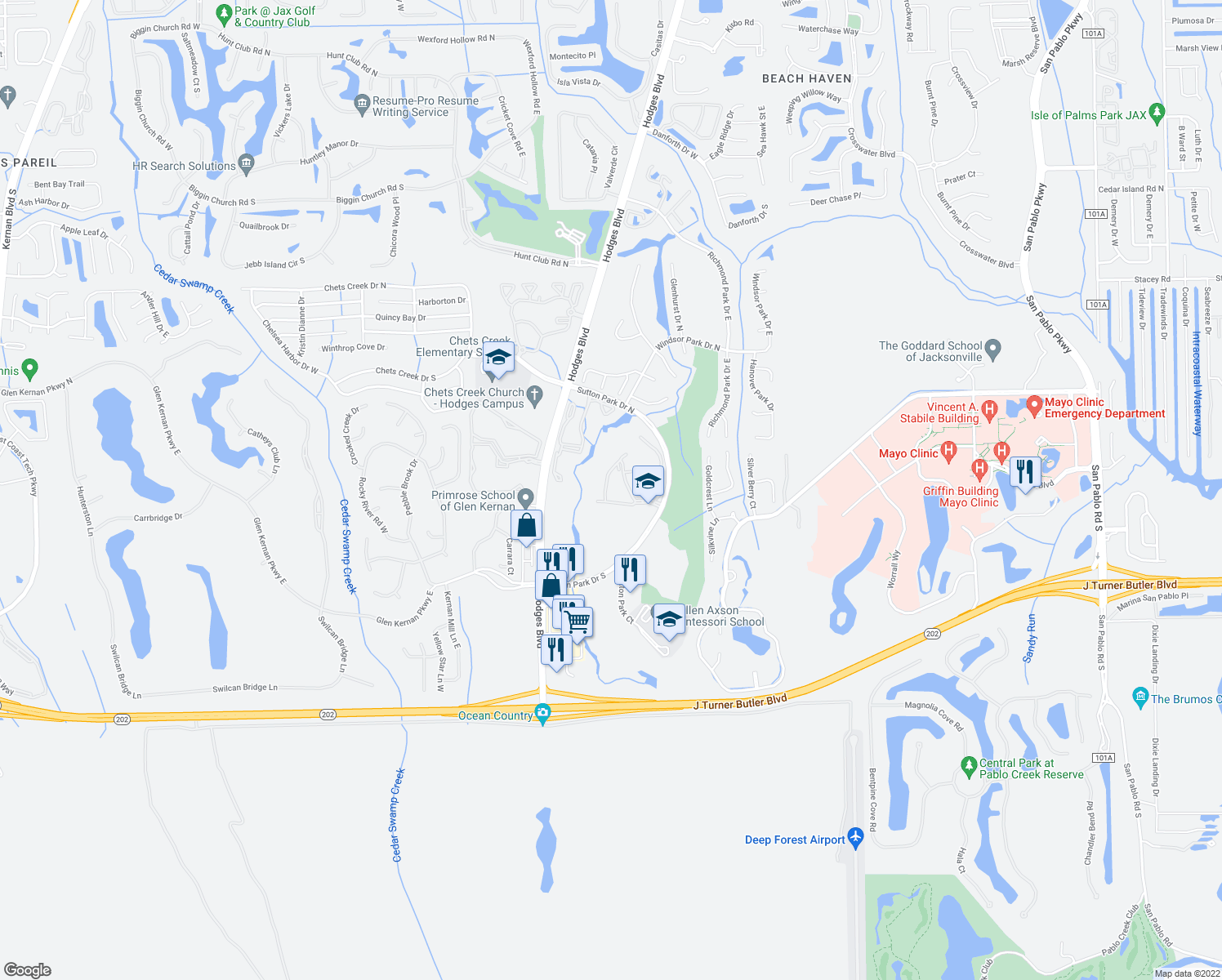 map of restaurants, bars, coffee shops, grocery stores, and more near 13810 Sutton Park Drive North in Jacksonville