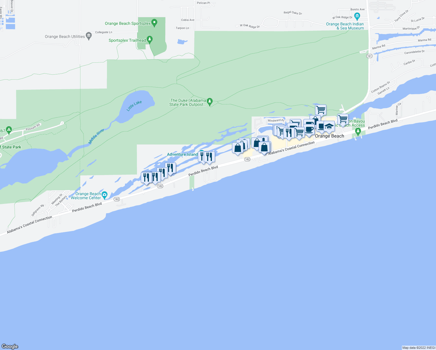 map of restaurants, bars, coffee shops, grocery stores, and more near 24700 Perdido Beach Boulevard in Orange Beach