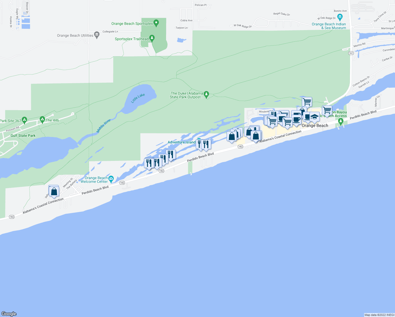 map of restaurants, bars, coffee shops, grocery stores, and more near in Orange Beach