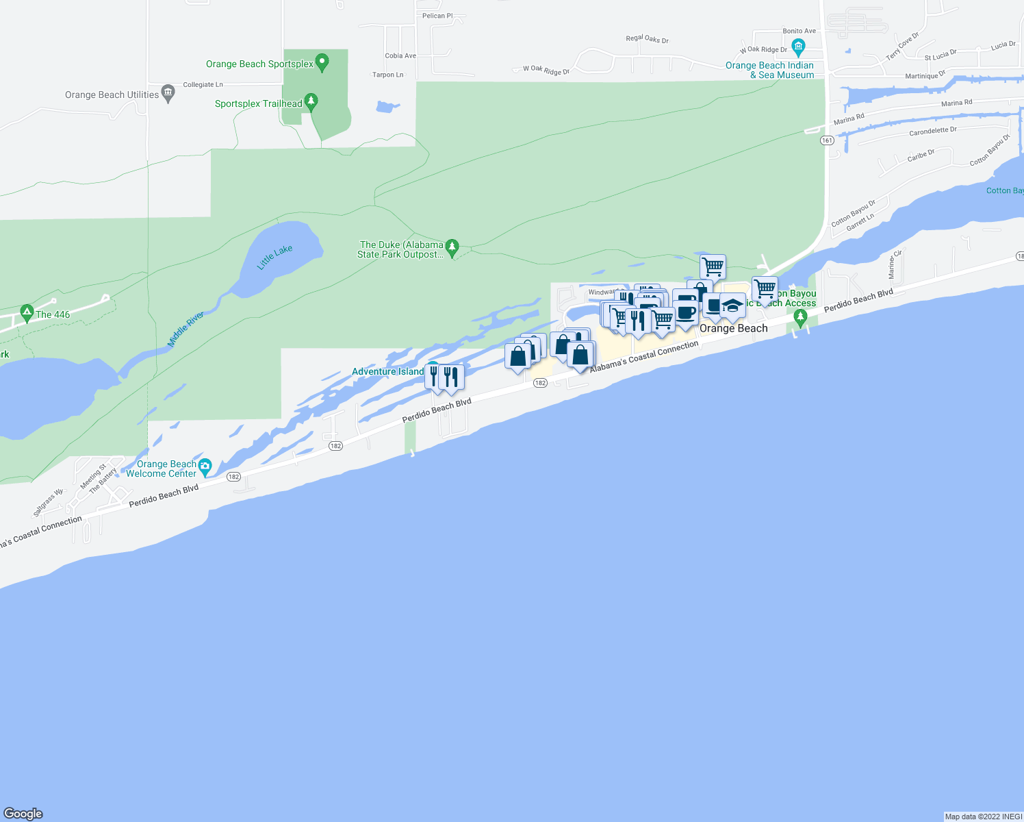 map of restaurants, bars, coffee shops, grocery stores, and more near 24880 Perdido Beach Boulevard in Orange Beach