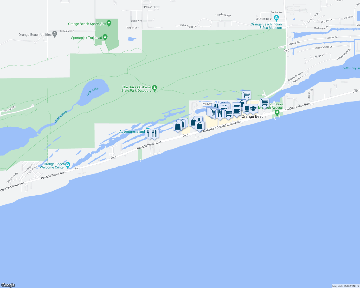 map of restaurants, bars, coffee shops, grocery stores, and more near 24900 Perdido Beach Boulevard in Orange Beach